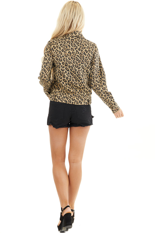 Cream and Charcoal Leopard Denim Jacket with Buttons back full body