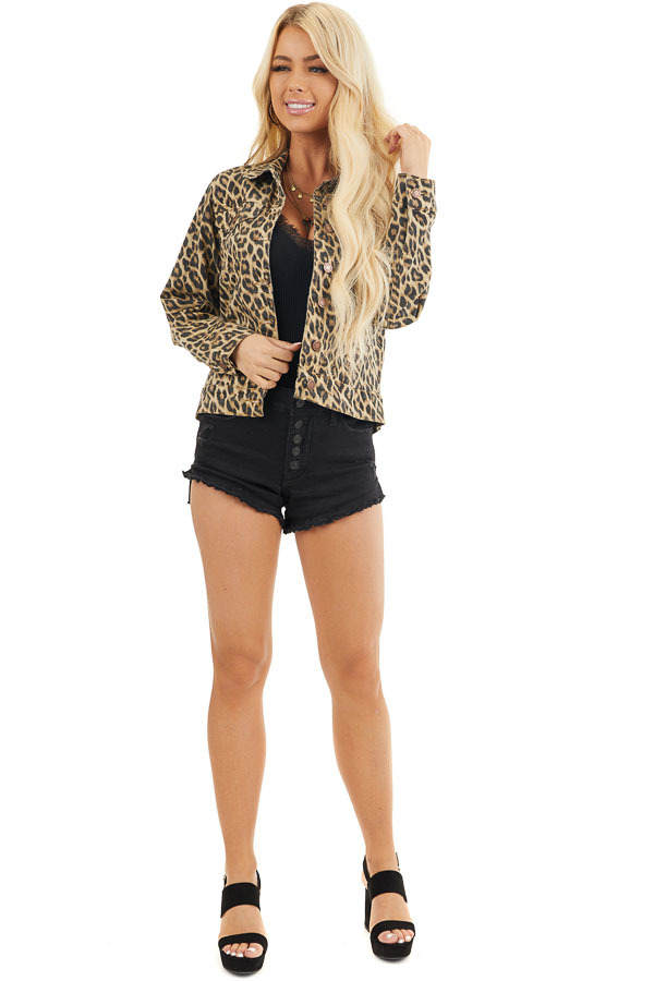 Cream and Charcoal Leopard Denim Jacket with Buttons front full body
