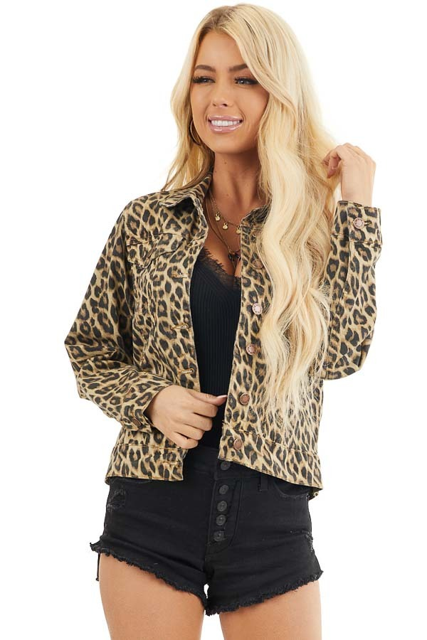 Cream and Charcoal Leopard Denim Jacket with Buttons front close up