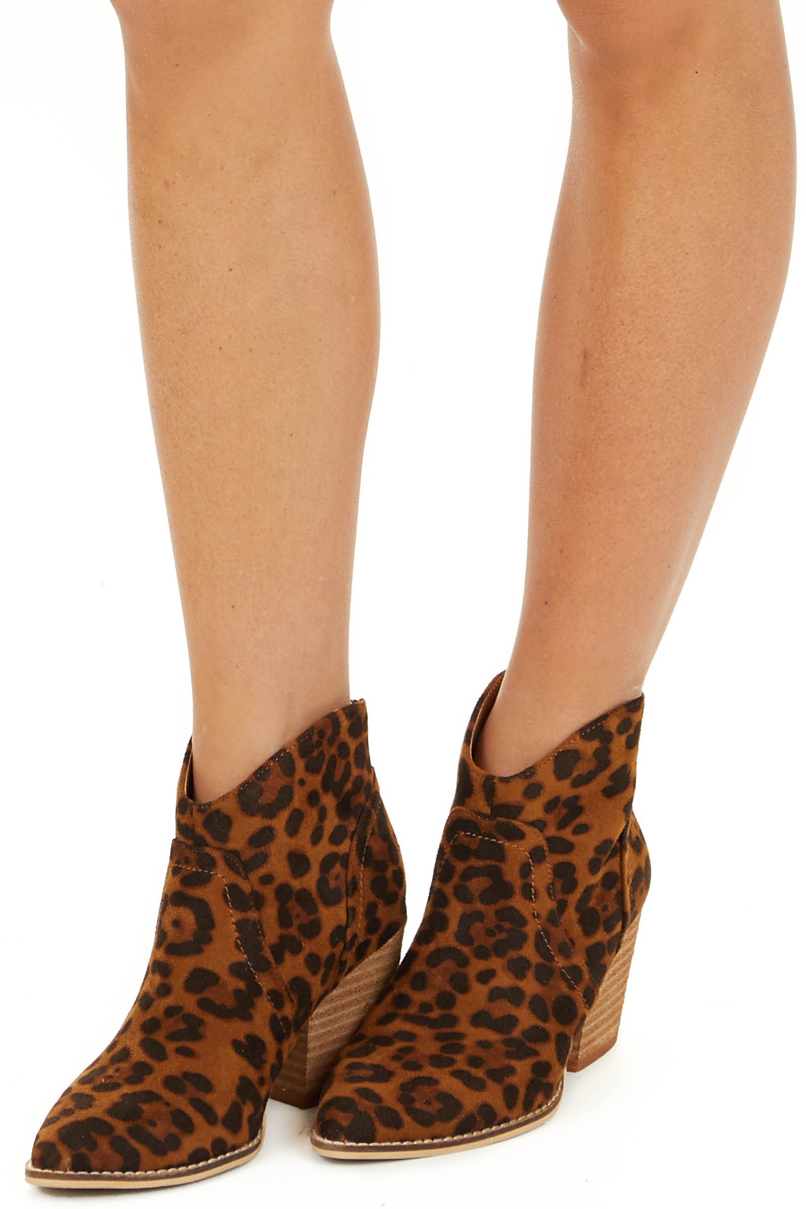 Cognac Leopard Print Faux Suede Pointed Toe Heeled Booties side view
