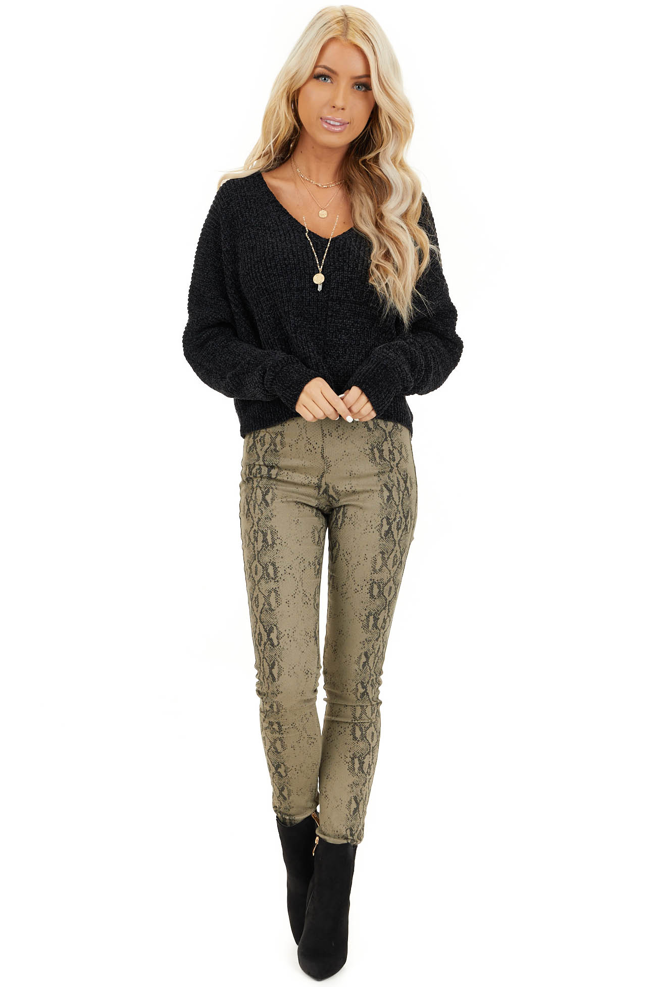 Black Long Sleeve Chenille Sweater Top with V Neckline front full body