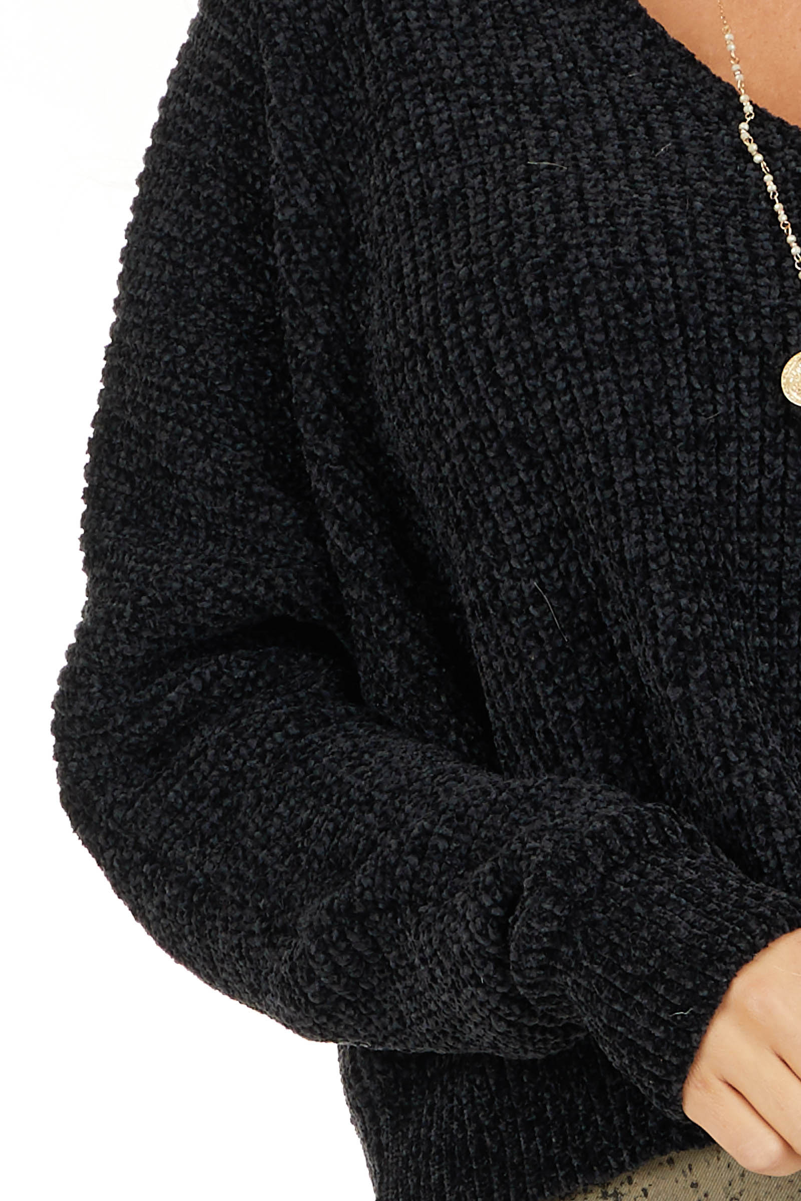 Black Long Sleeve Chenille Sweater Top with V Neckline detail