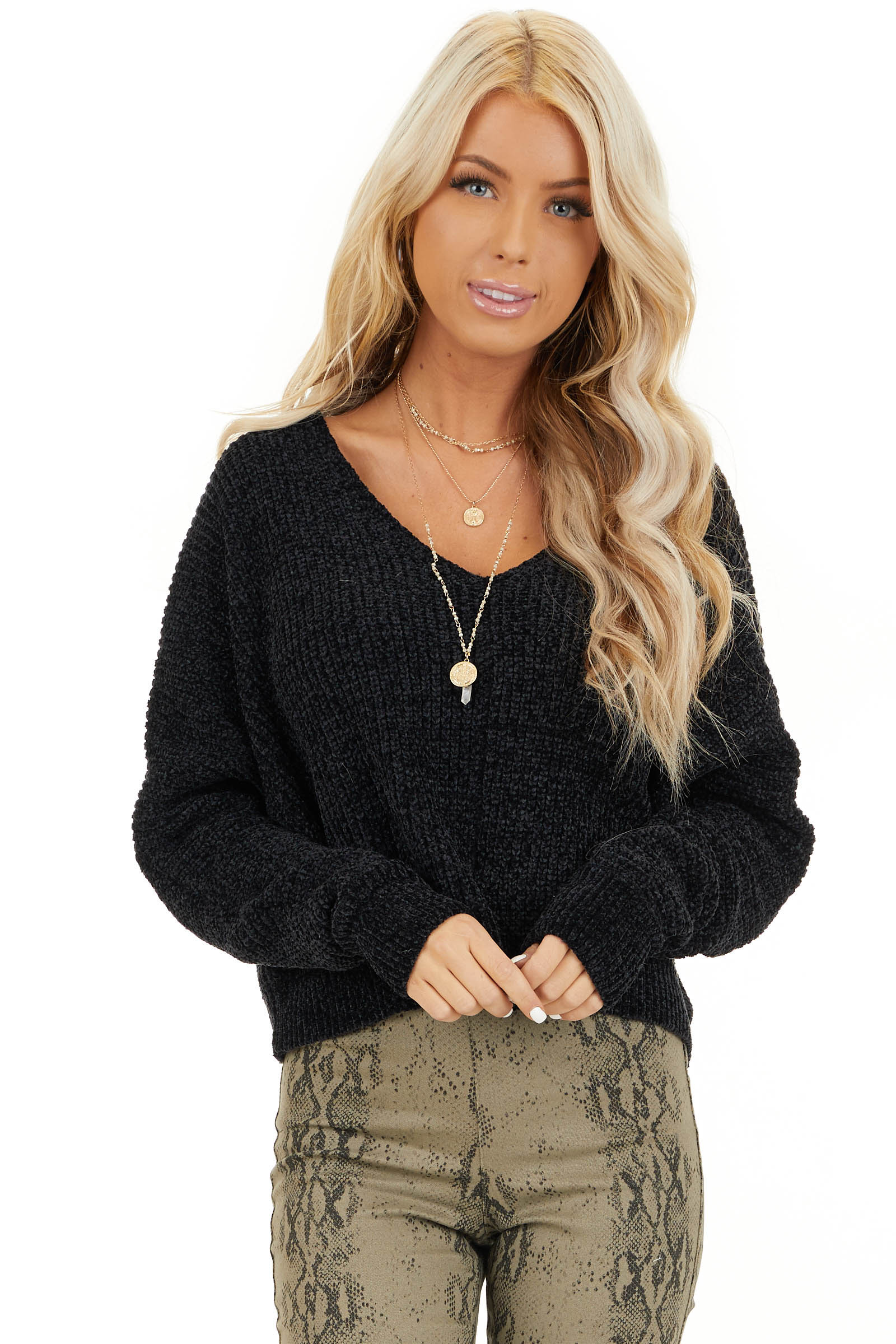 Black Long Sleeve Chenille Sweater Top with V Neckline front close up