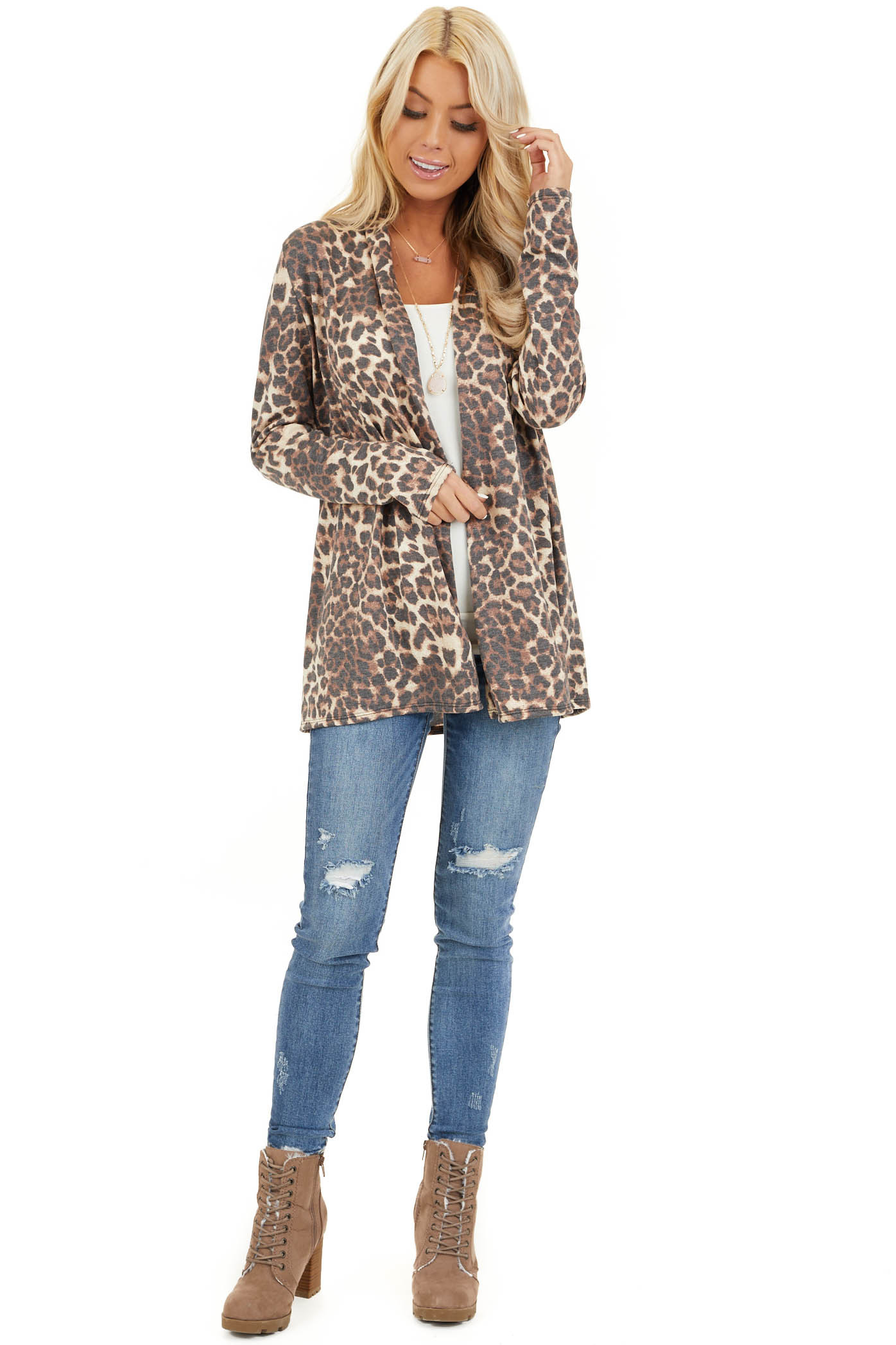 Mocha and Cream Leopard Print Open Front Cardigan front full body