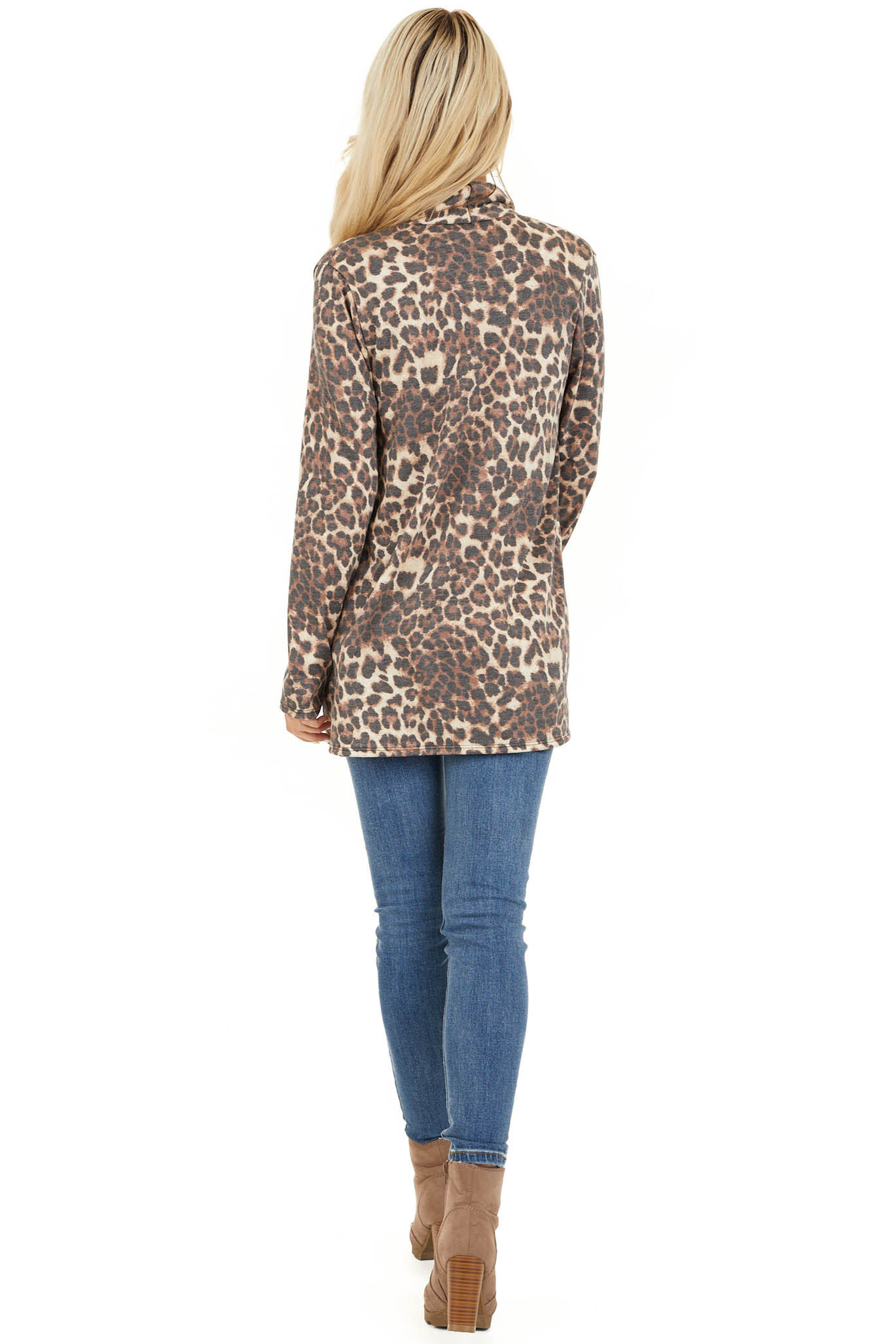 Mocha and Cream Leopard Print Open Front Cardigan back full body