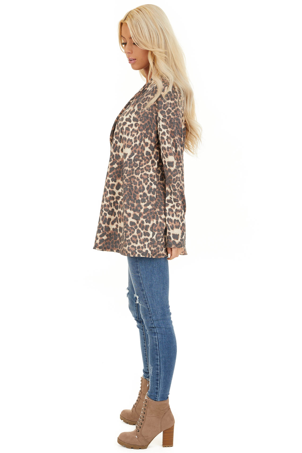 Mocha and Cream Leopard Print Open Front Cardigan side full body
