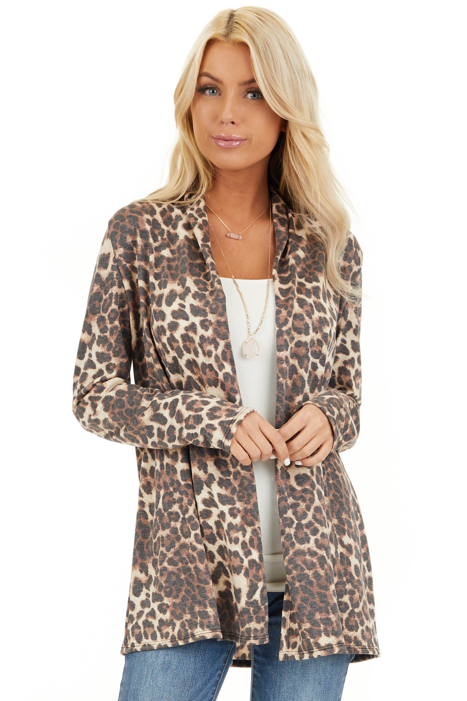 Mocha and Cream Leopard Print Open Front Cardigan front close up
