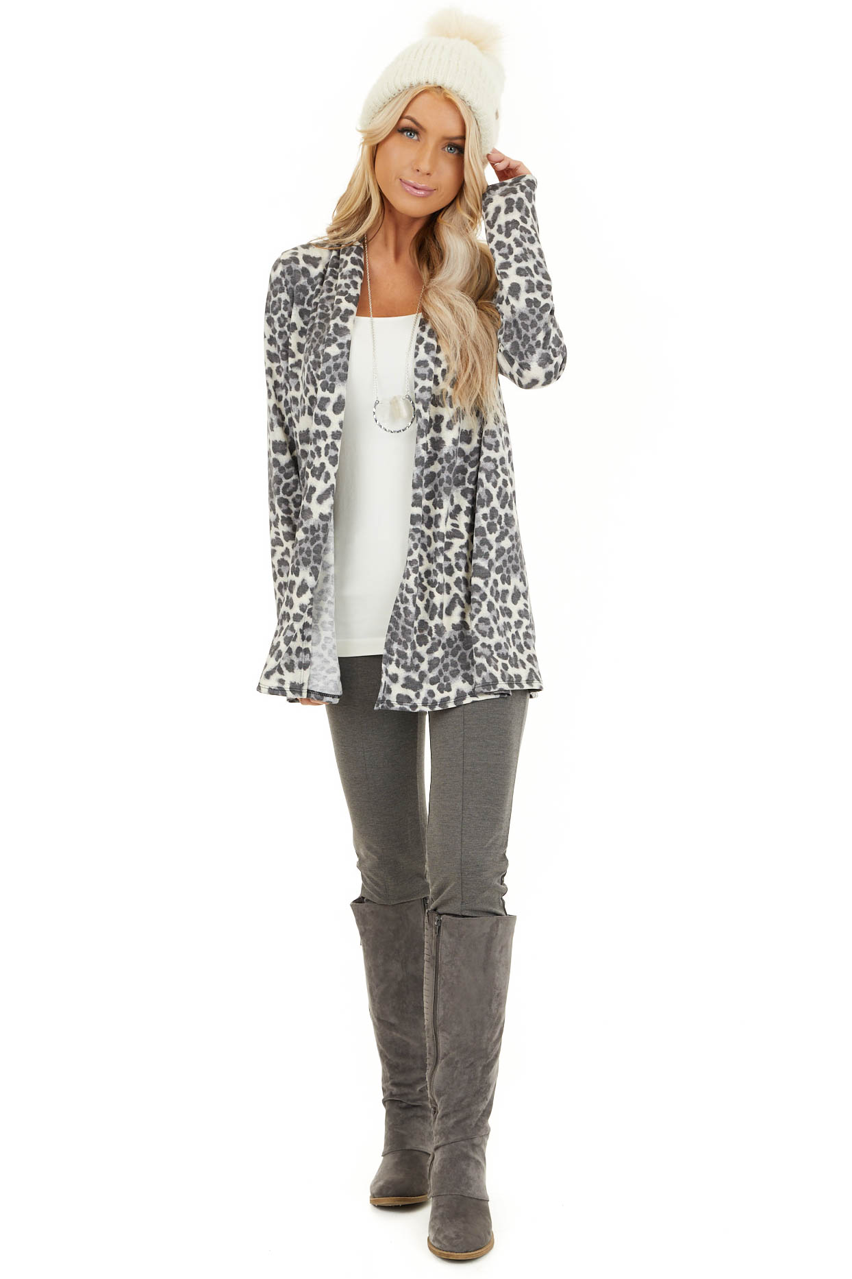Charcoal and Ivory Leopard Print Open Front Cardigan front full body