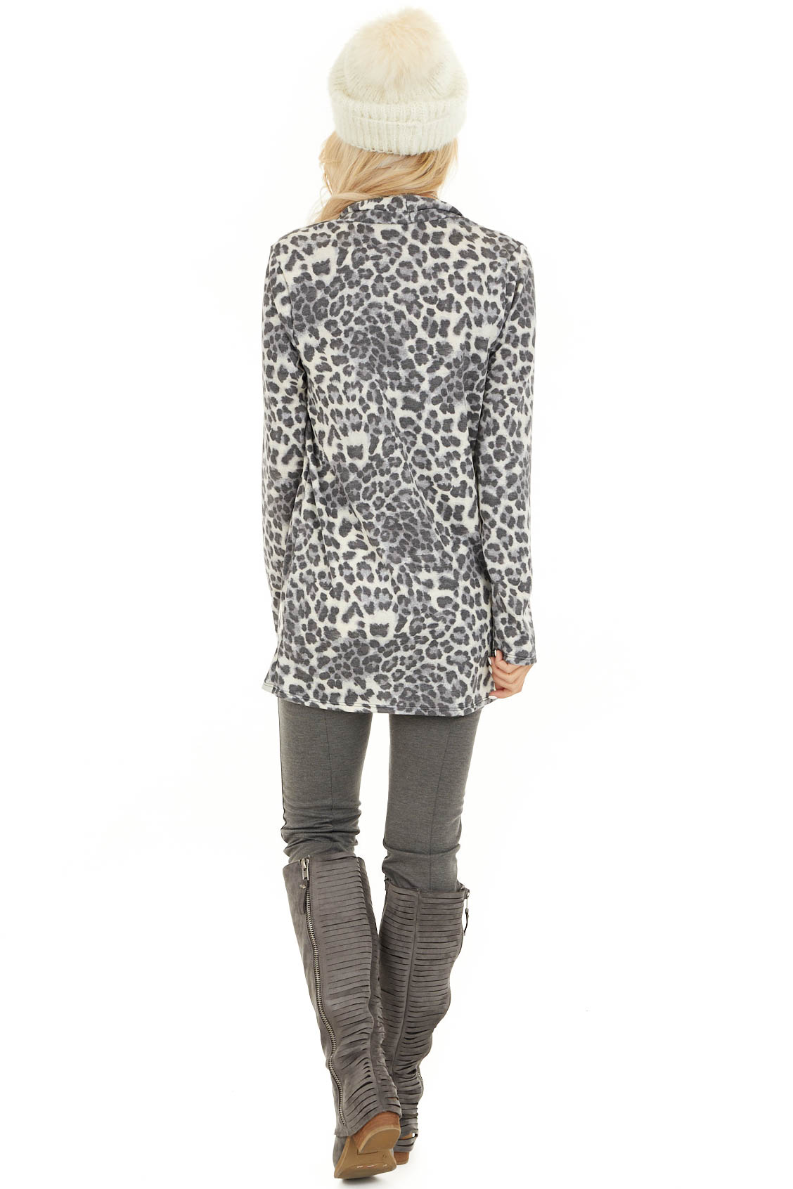 Charcoal and Ivory Leopard Print Open Front Cardigan back full body