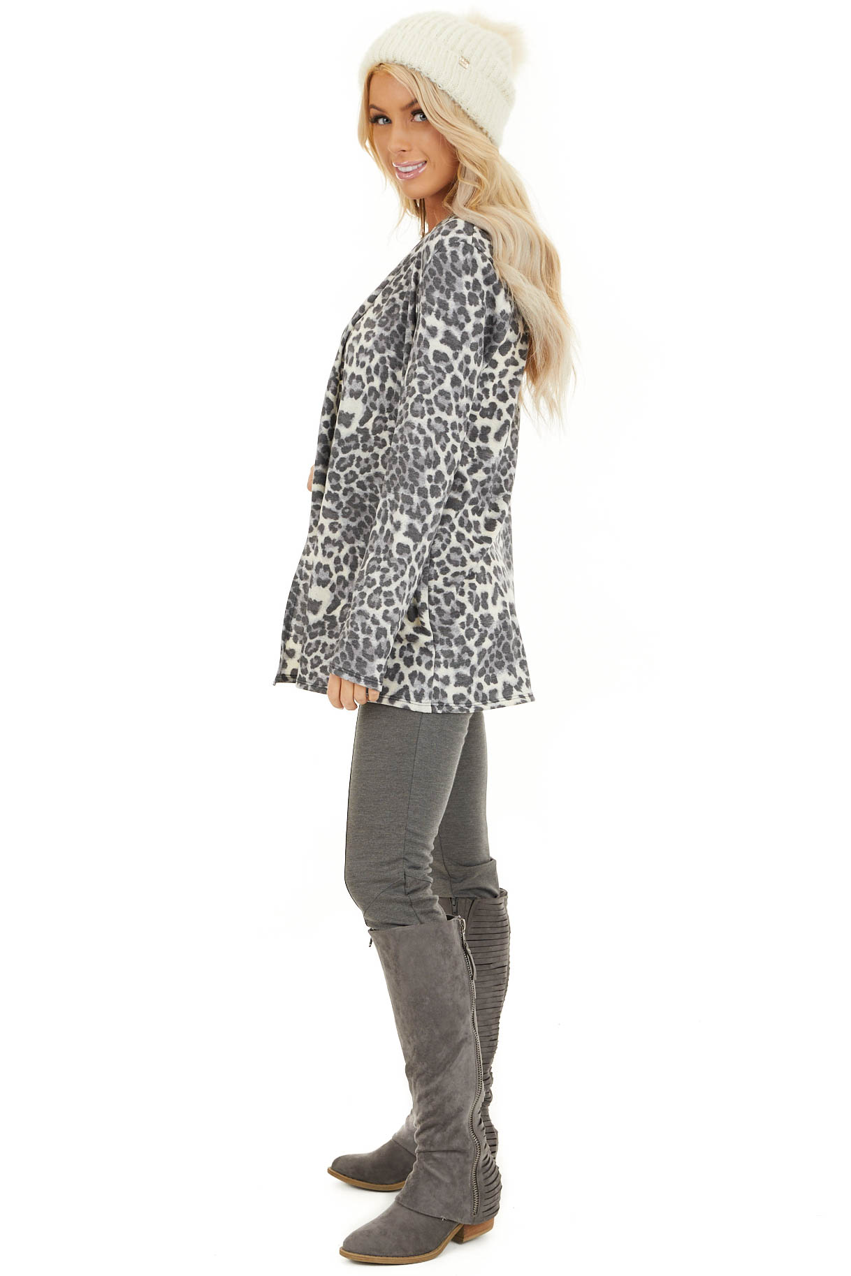Charcoal and Ivory Leopard Print Open Front Cardigan side full body