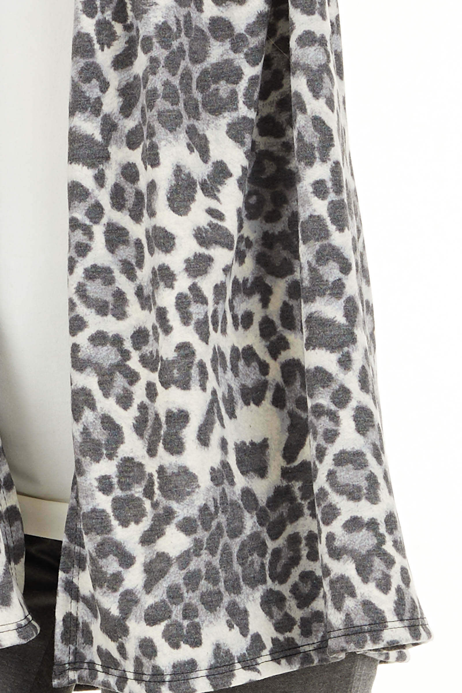Charcoal and Ivory Leopard Print Open Front Cardigan detail