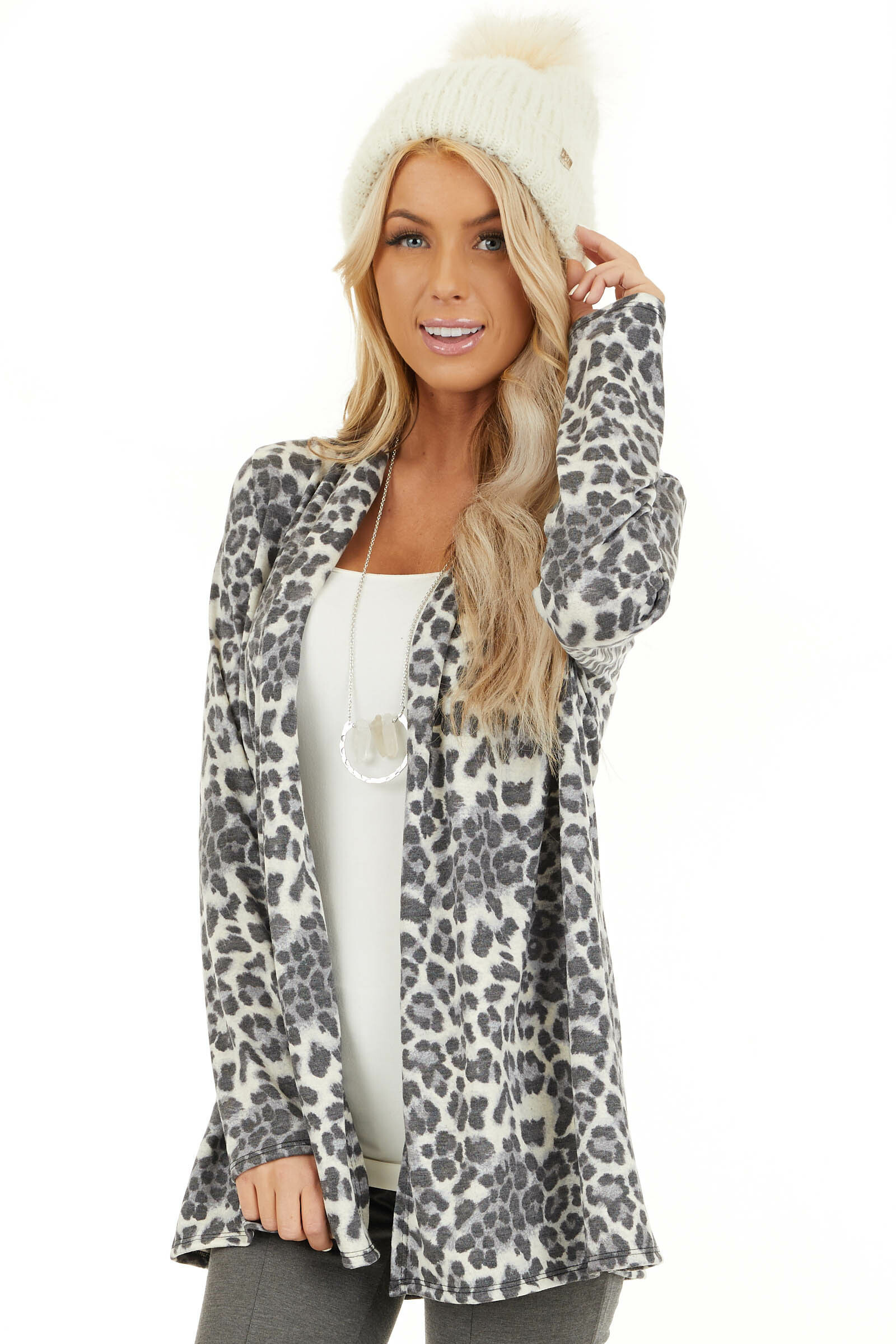 Charcoal and Ivory Leopard Print Open Front Cardigan front close up