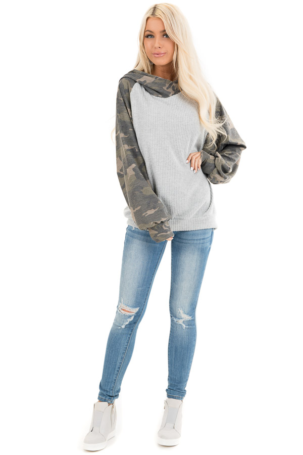 Heather Grey and Camo Print Waffle Knit Hoodie Top front full body