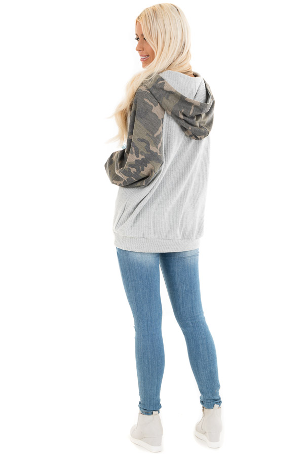 Heather Grey and Camo Print Waffle Knit Hoodie Top back full body