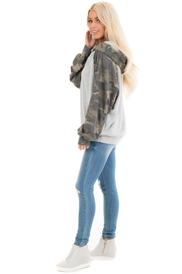Heather Grey and Camo Print Waffle Knit Hoodie Top side full body