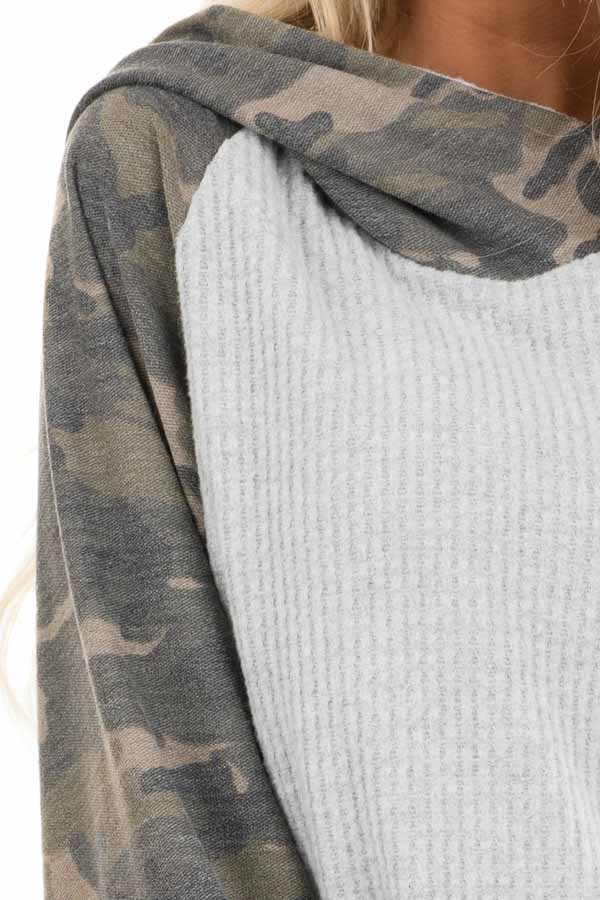 Heather Grey and Camo Print Waffle Knit Hoodie Top detail