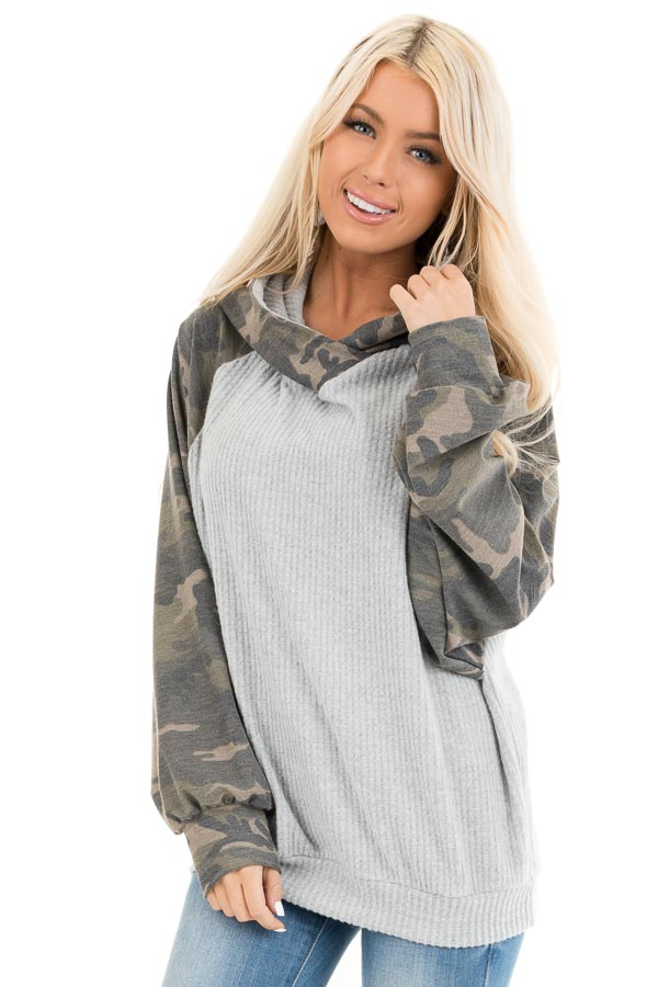 Heather Grey and Camo Print Waffle Knit Hoodie Top front close up