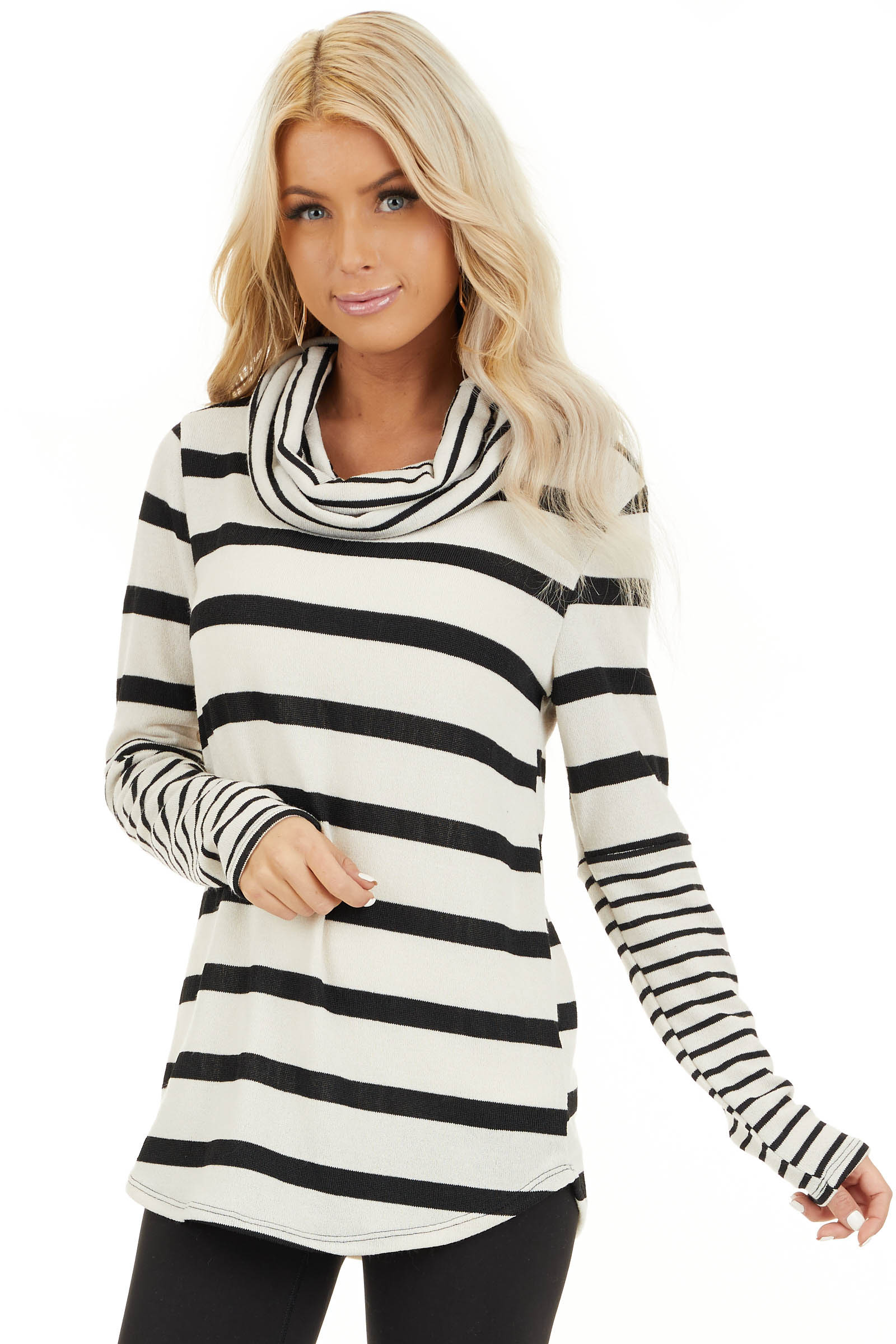 Ivory and Black Striped Long Sleeve Top with Cowl Neckline front close up
