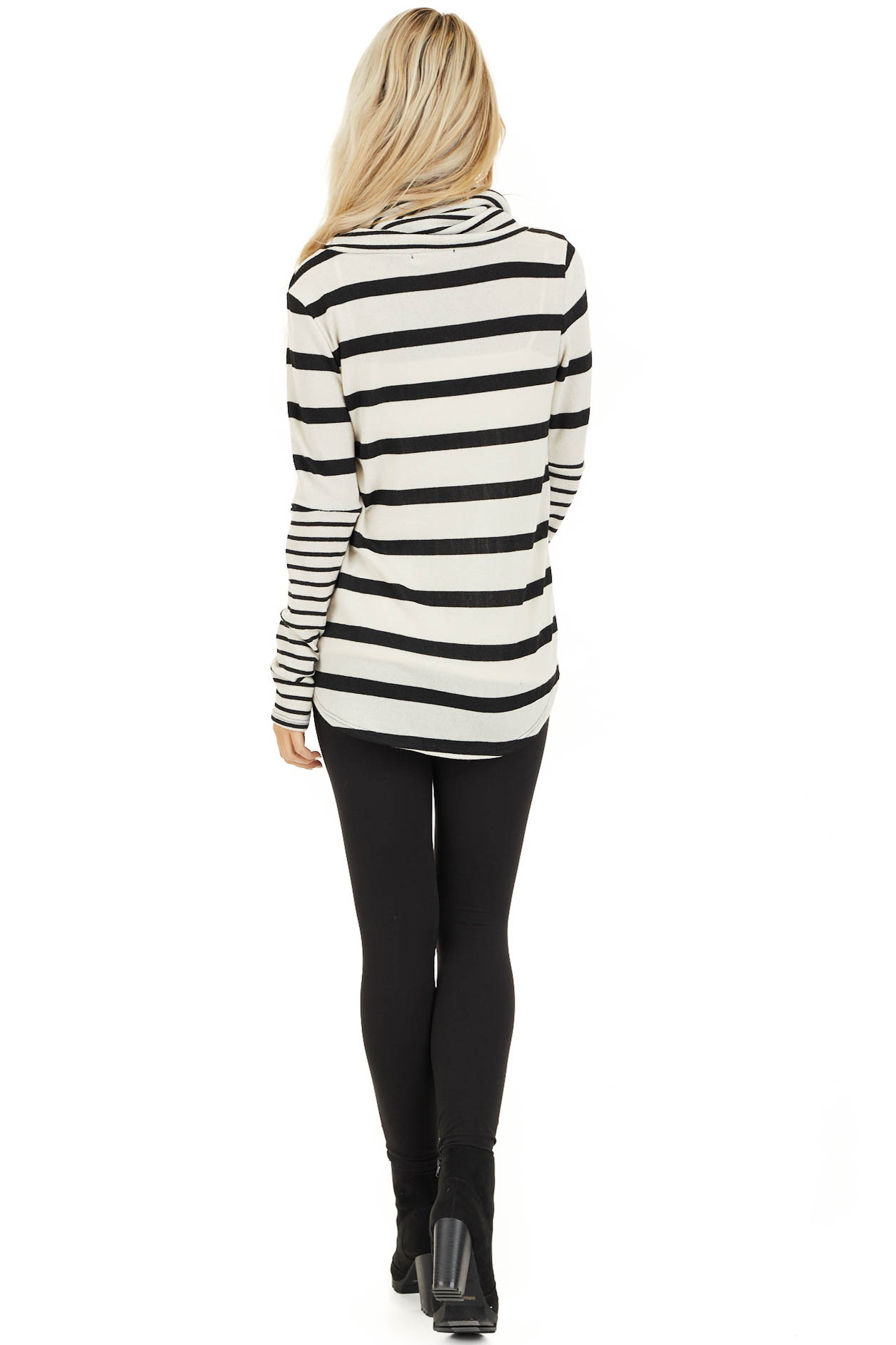Ivory and Black Striped Long Sleeve Top with Cowl Neckline back full body