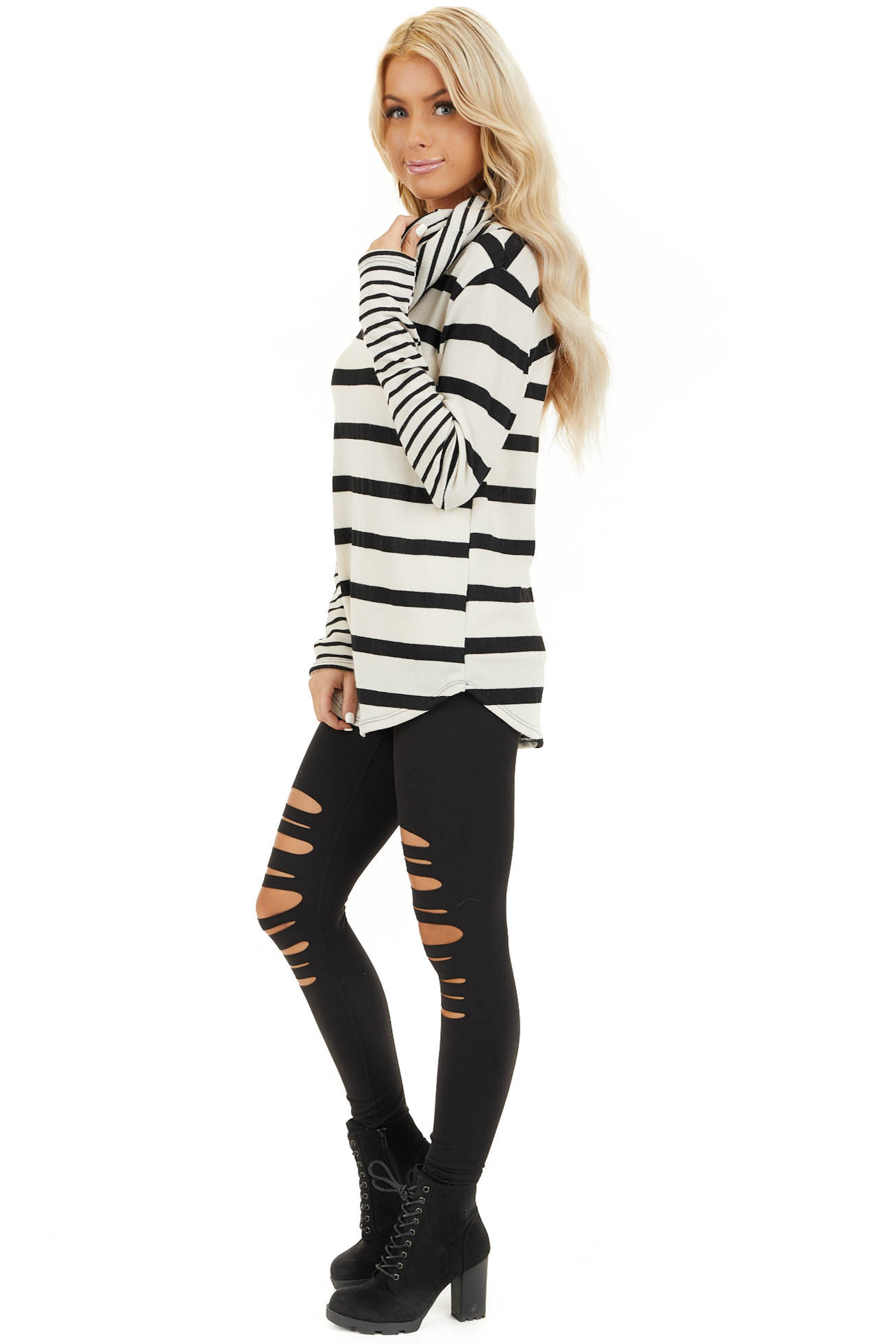 Ivory and Black Striped Long Sleeve Top with Cowl Neckline side full body