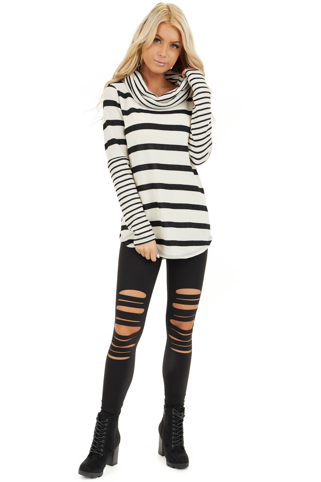 Ivory and Black Striped Long Sleeve Top with Cowl Neckline front full body