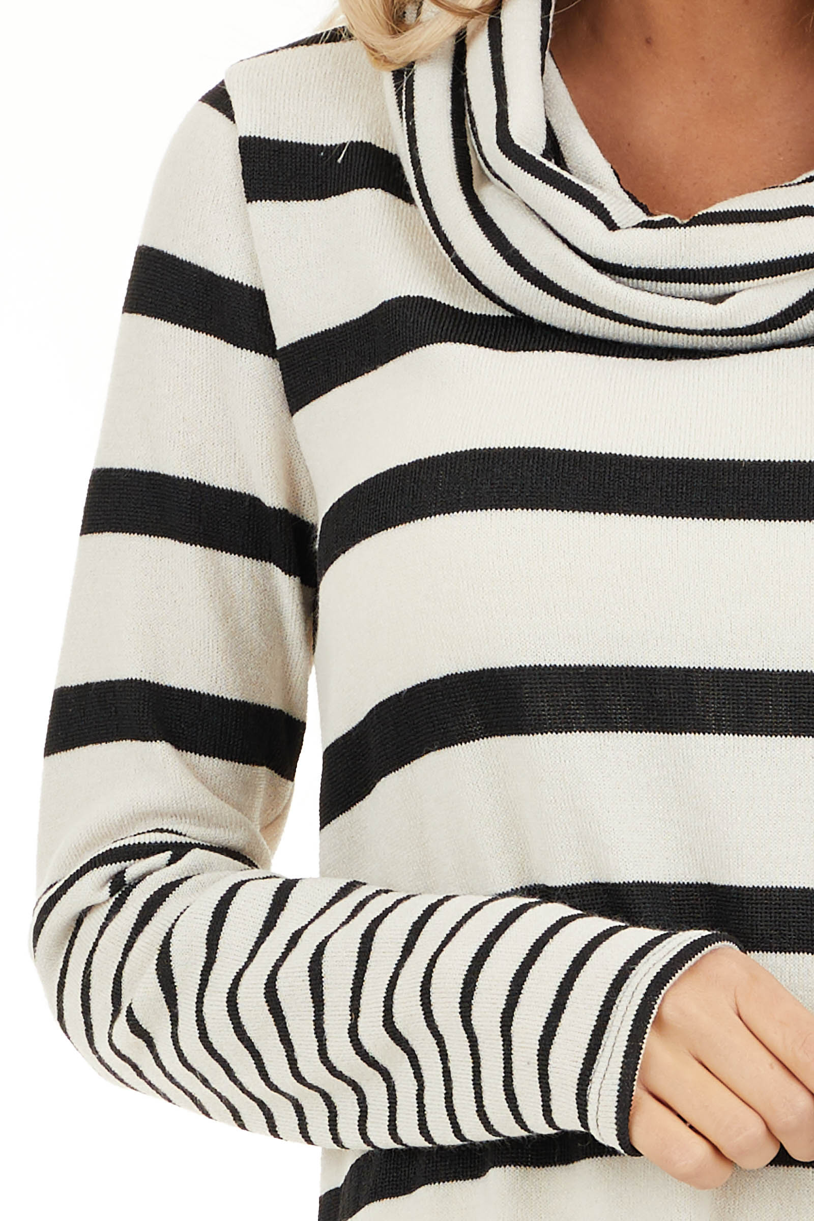 Ivory and Black Striped Long Sleeve Top with Cowl Neckline detail