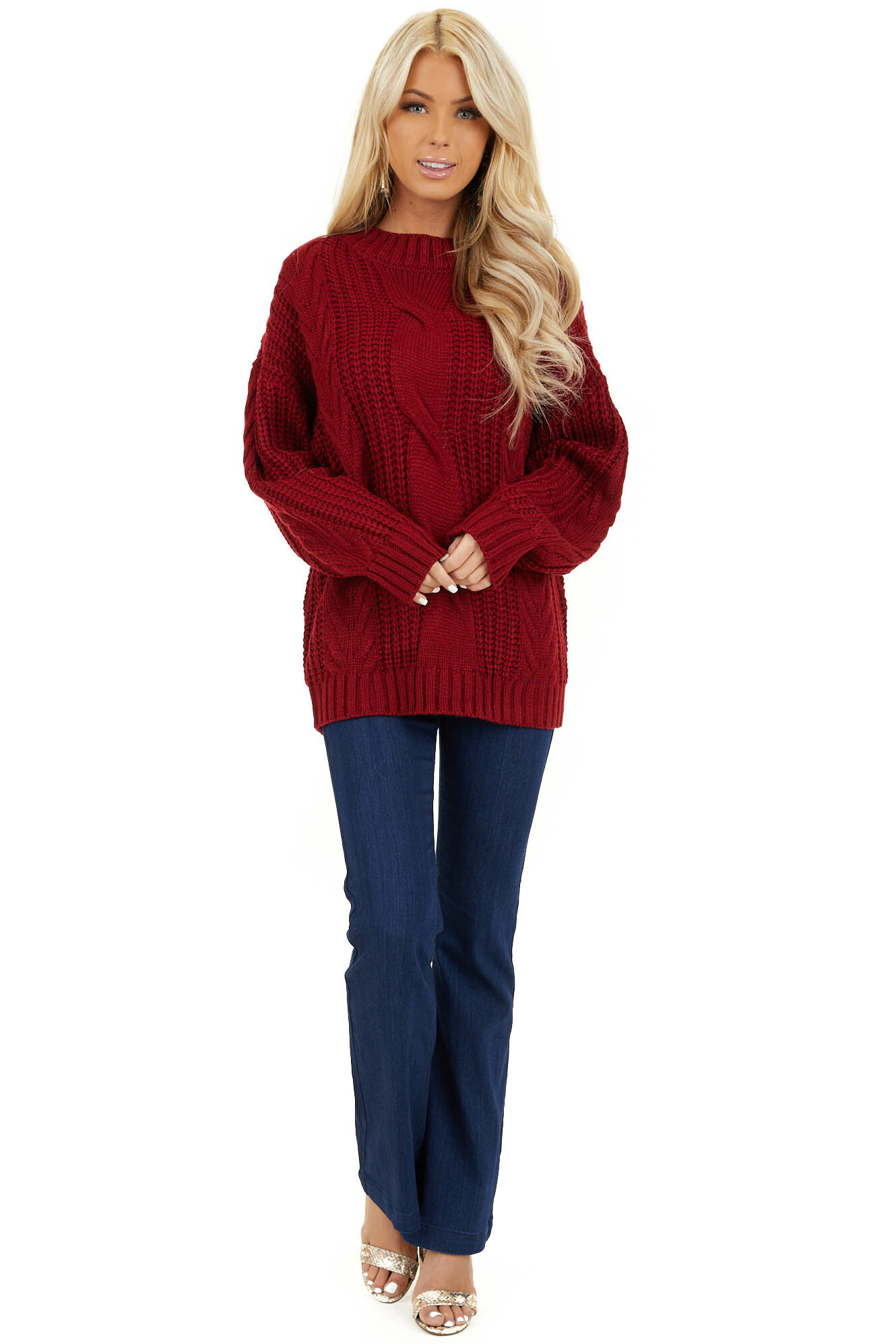 Cherry Red Chunky Cable Knit Long Sleeve Sweater front full body
