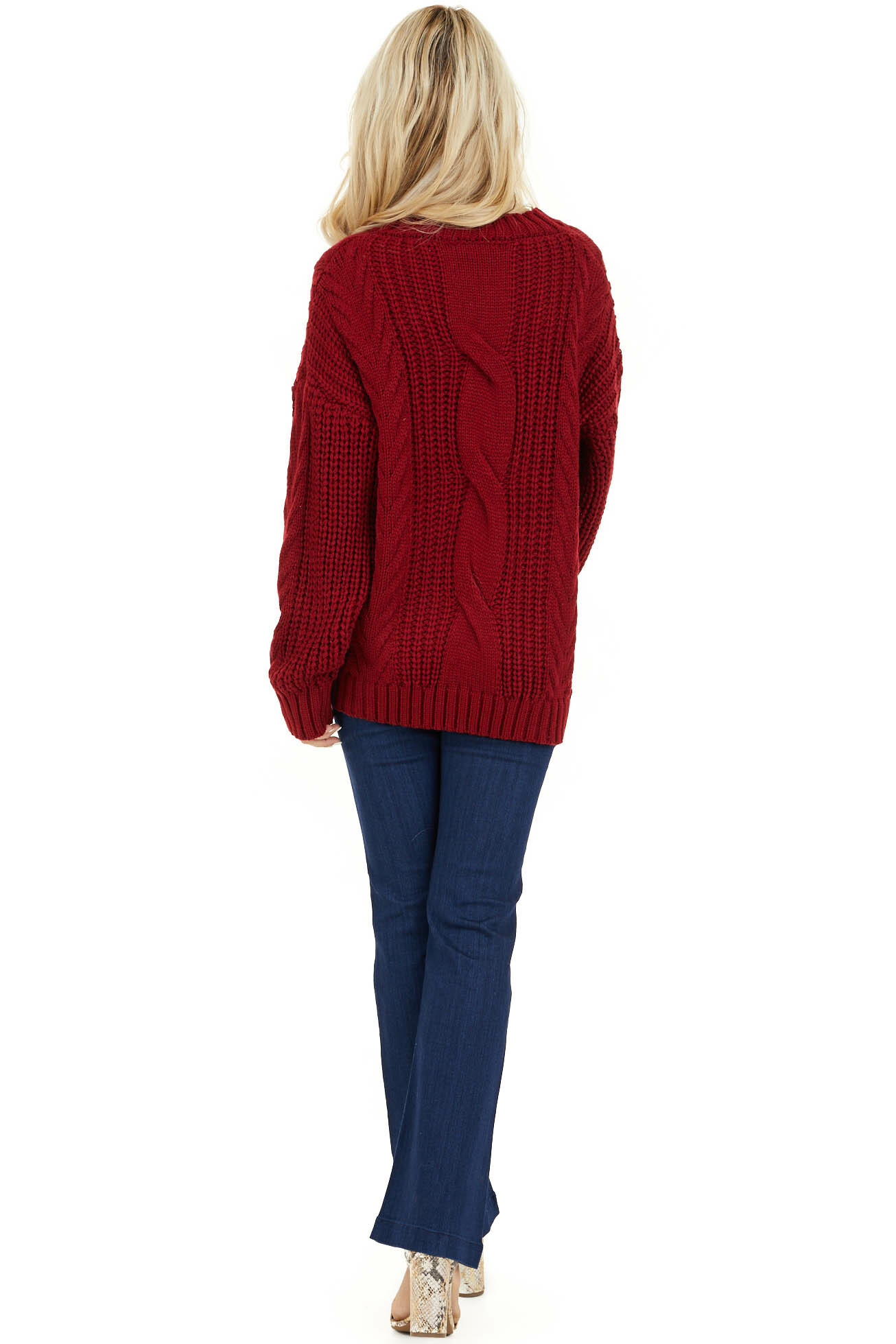 Cherry Red Chunky Cable Knit Long Sleeve Sweater back full body
