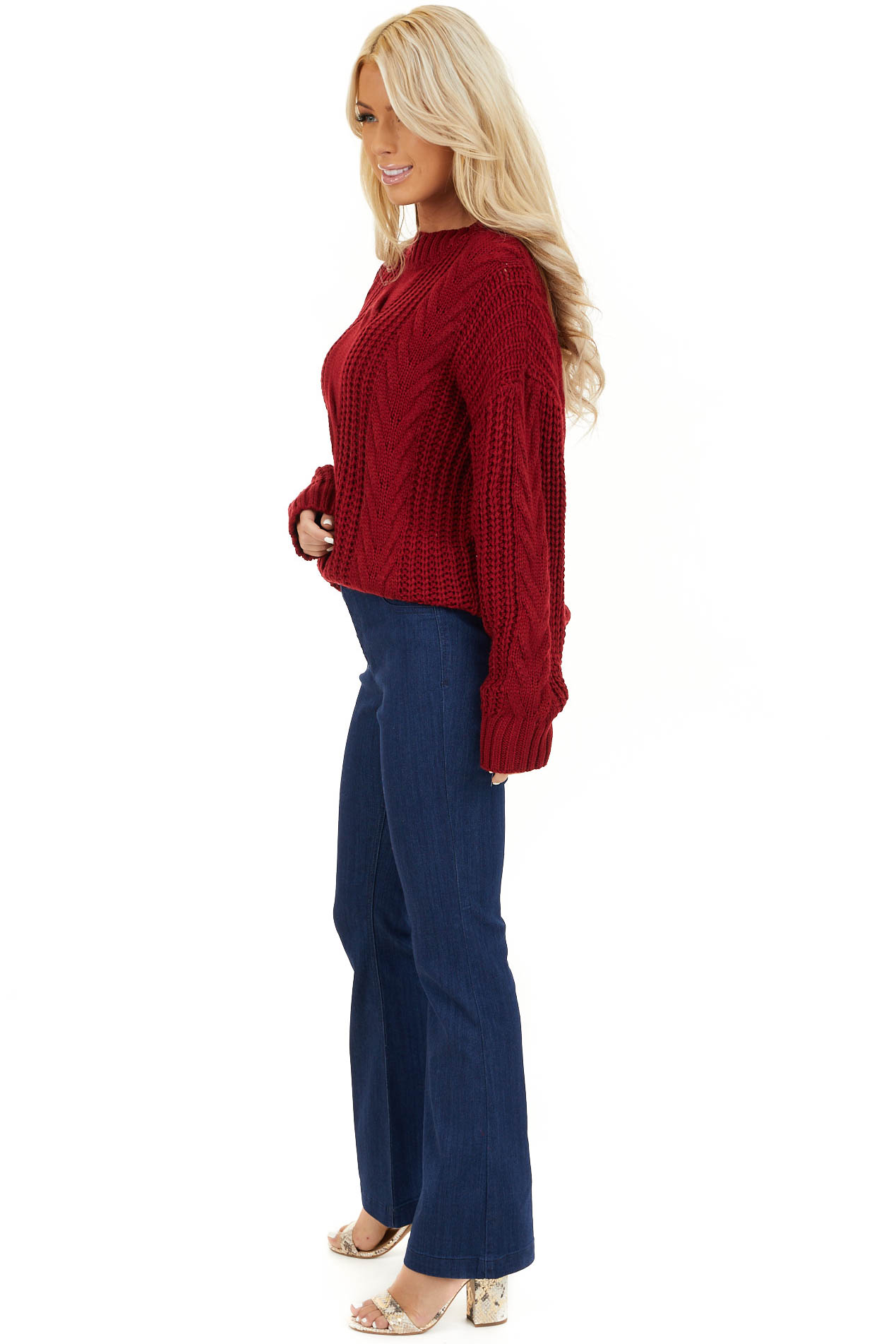 Cherry Red Chunky Cable Knit Long Sleeve Sweater side full body