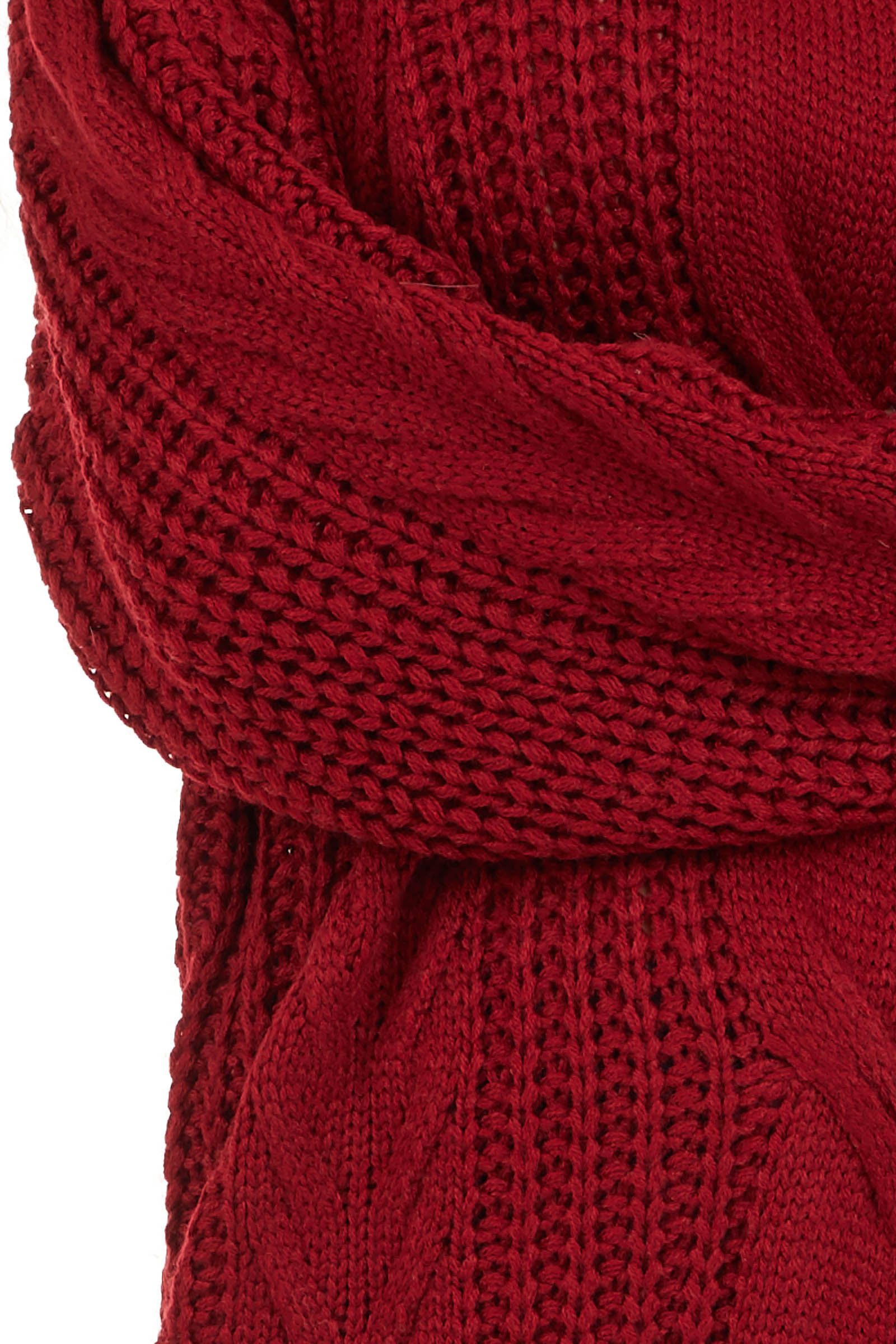 Cherry Red Chunky Cable Knit Long Sleeve Sweater detail