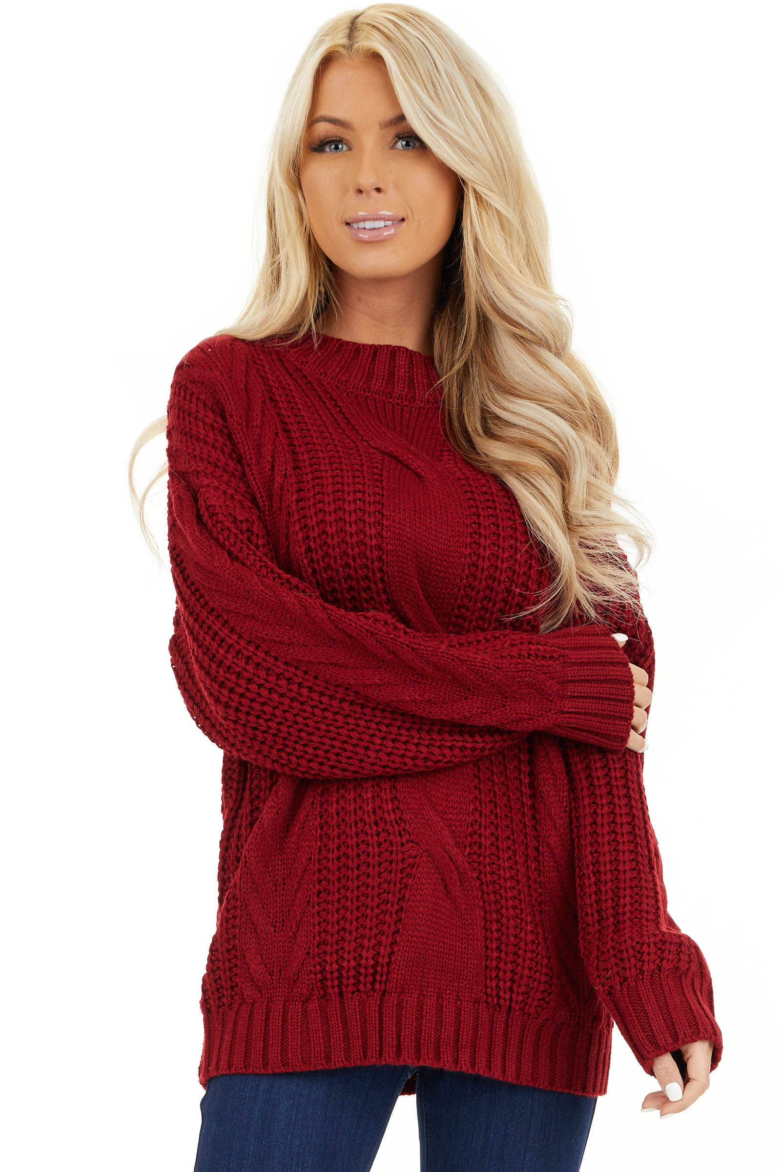 Cherry Red Chunky Cable Knit Long Sleeve Sweater front close up