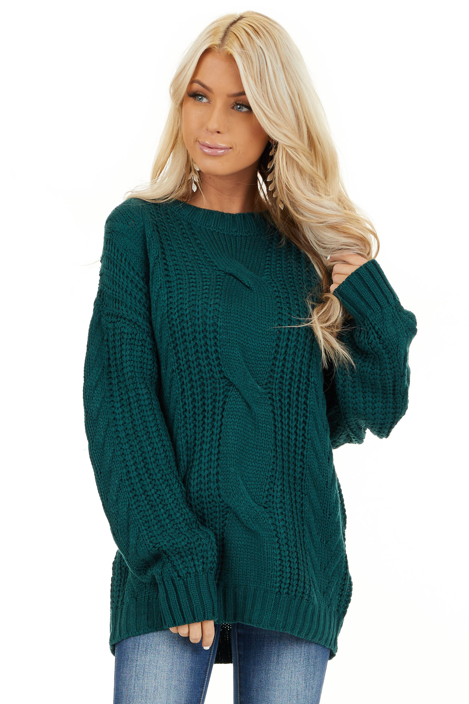 Pine Green Chunky Cable Knit Long Sleeve Sweater Lime