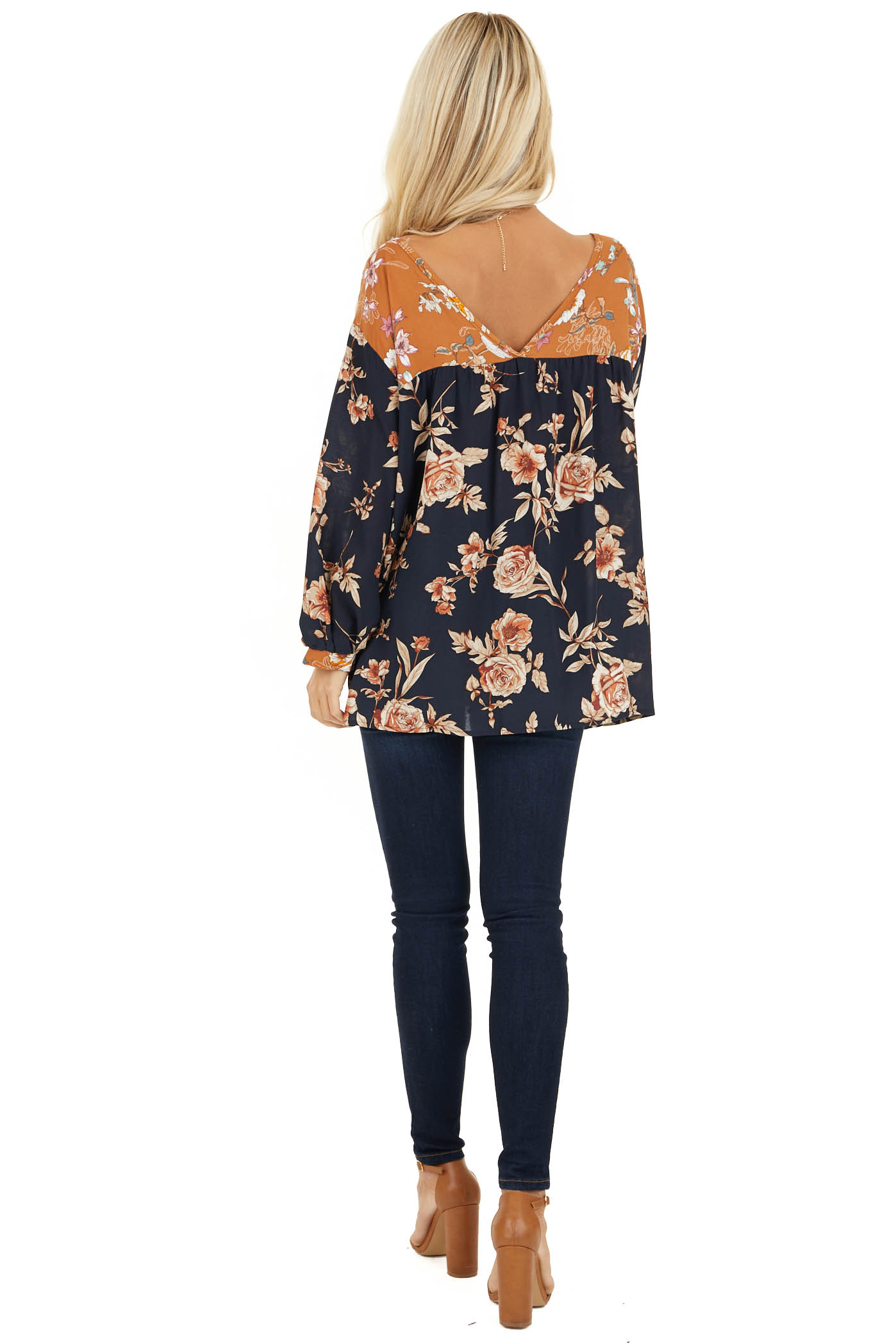 Navy and Mango Floral Woven Top with 3/4 Bubble Sleeves back full body