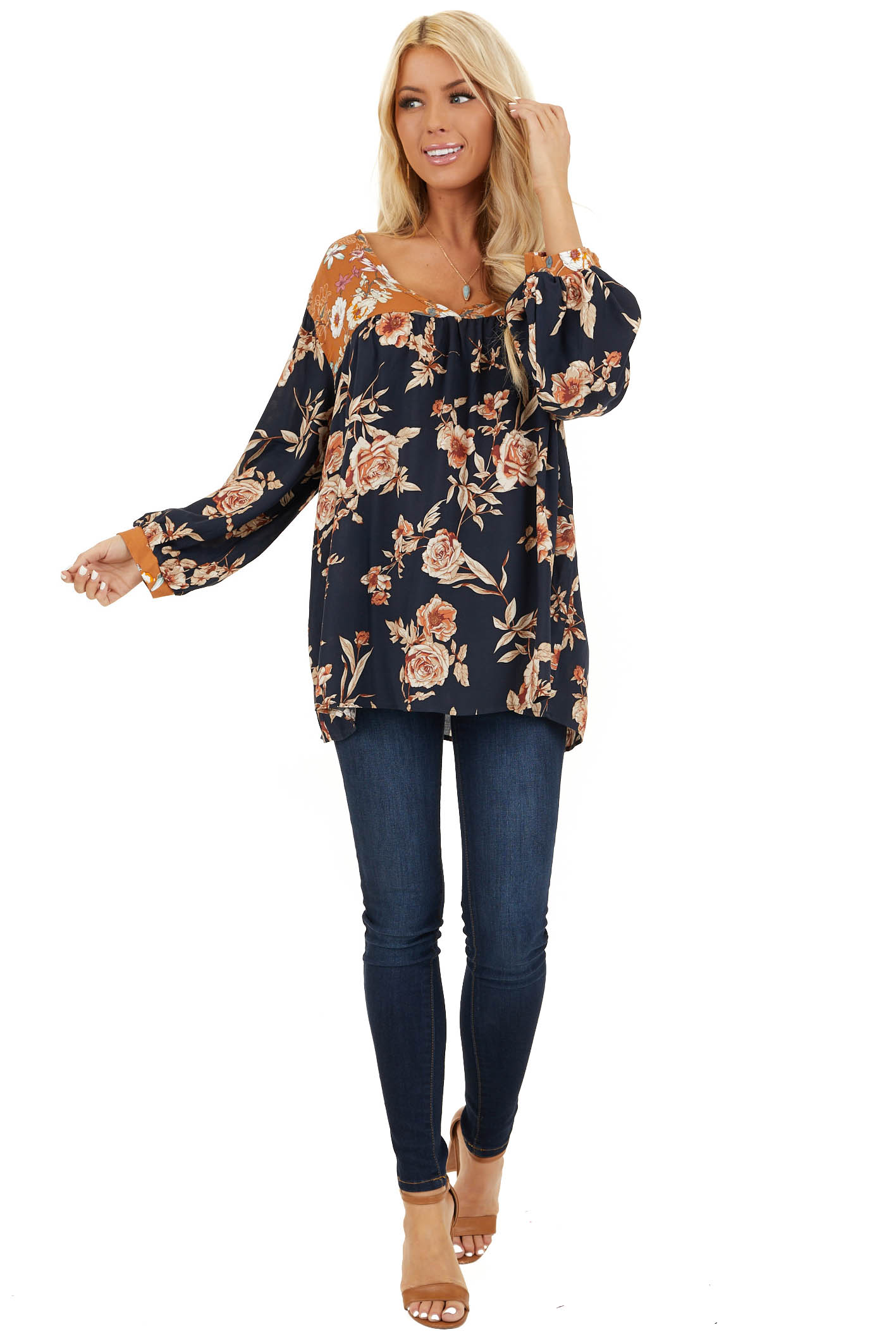 Navy and Mango Floral Woven Top with 3/4 Bubble Sleeves front full body