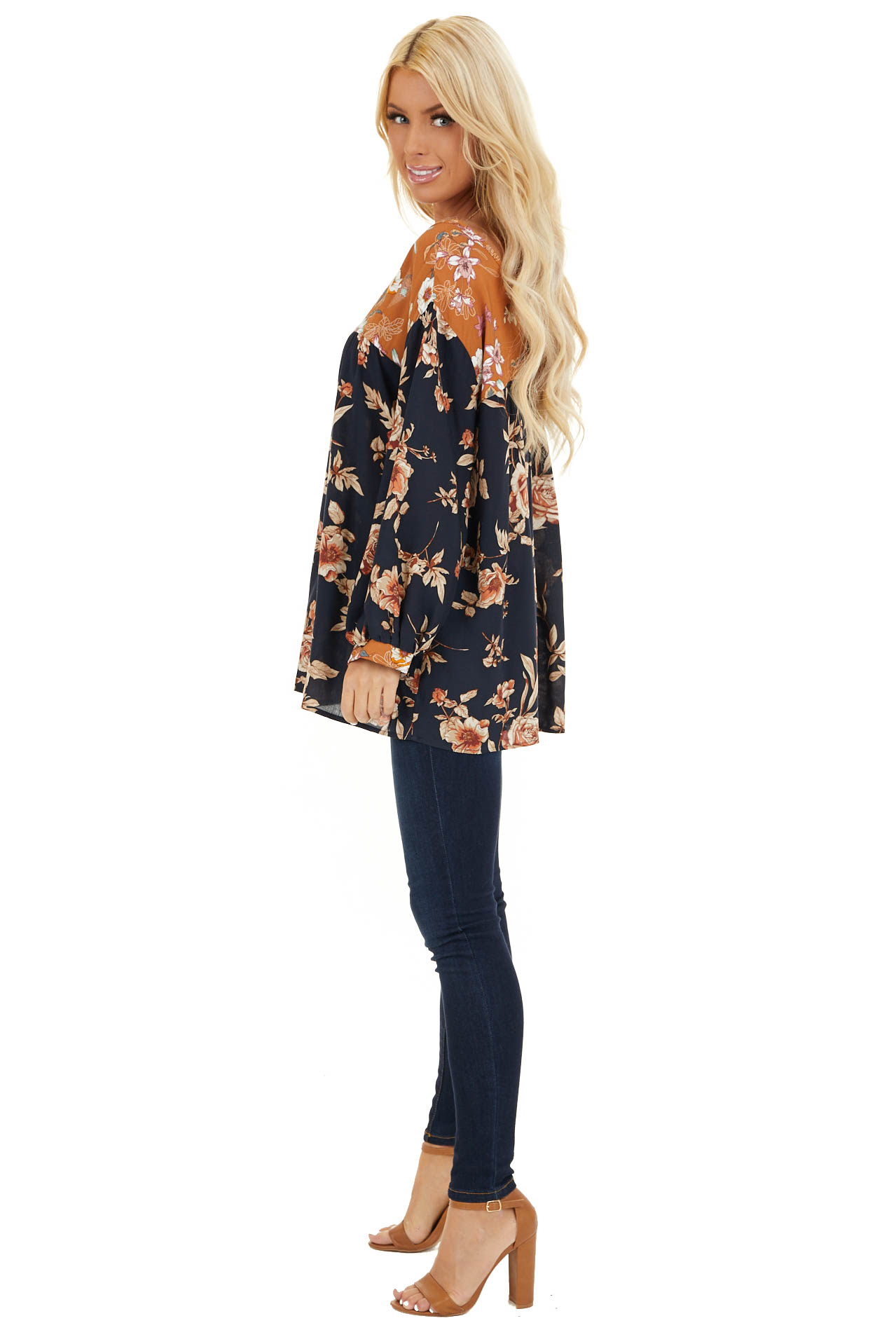 Navy and Mango Floral Woven Top with 3/4 Bubble Sleeves side full body