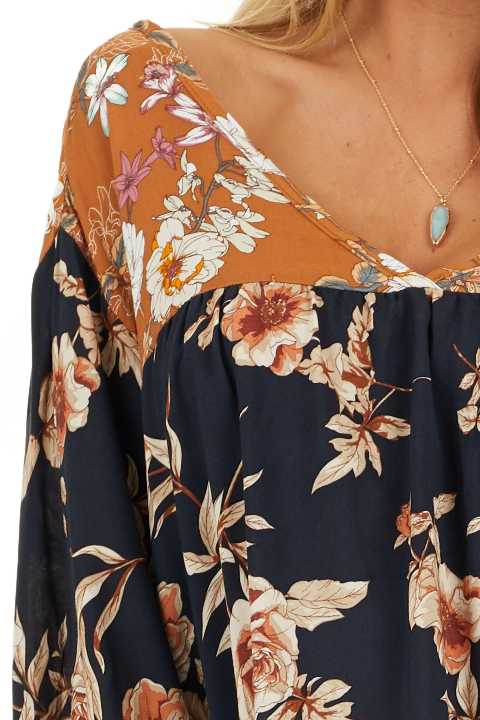 Navy and Mango Floral Woven Top with 3/4 Bubble Sleeves detail