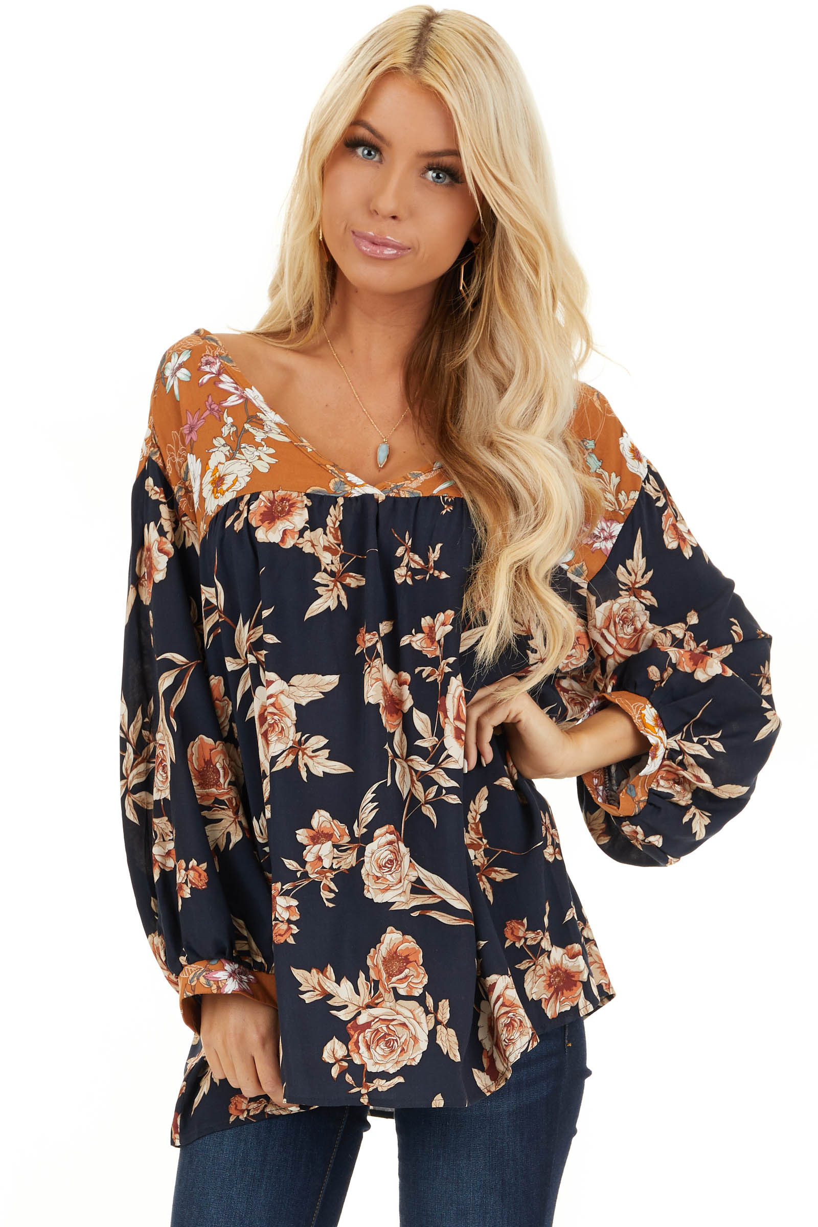 Navy and Mango Floral Woven Top with 3/4 Bubble Sleeves front close up