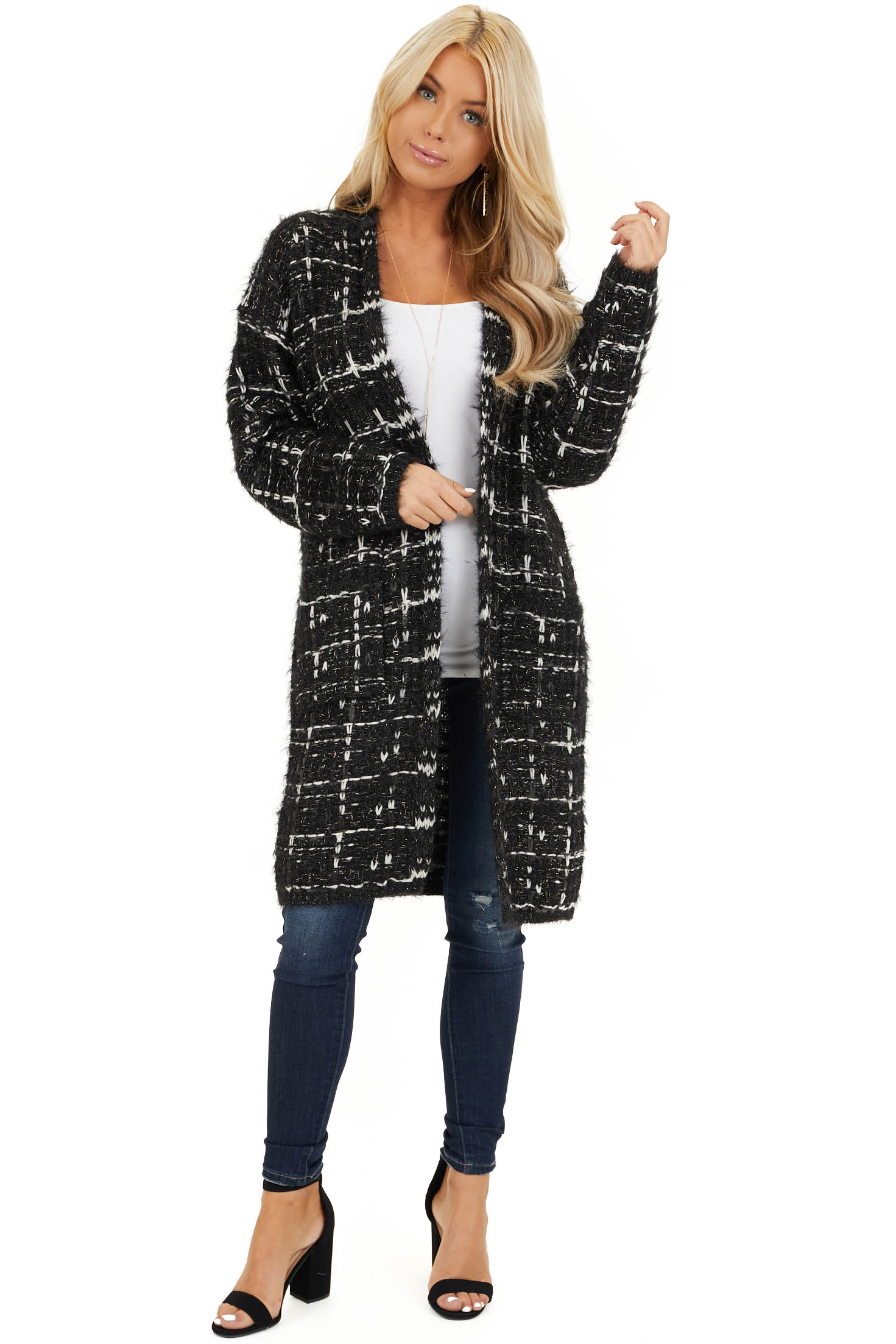 Black and Ivory Shimmering Long Sleeve Knit Cardigan front full body
