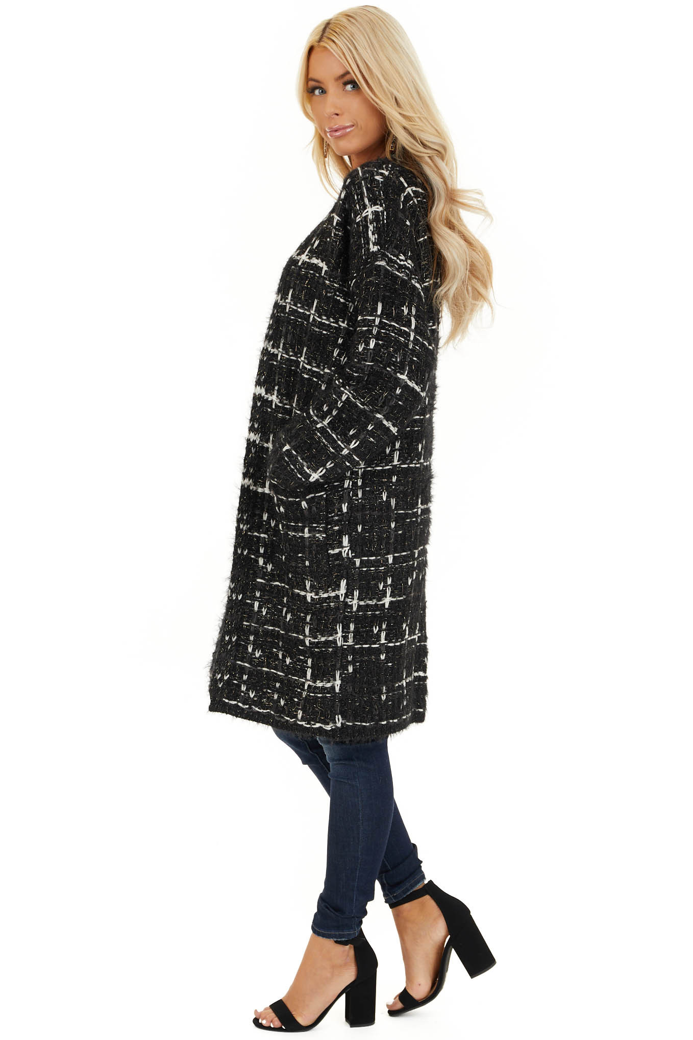 Black and Ivory Shimmering Long Sleeve Knit Cardigan side full body