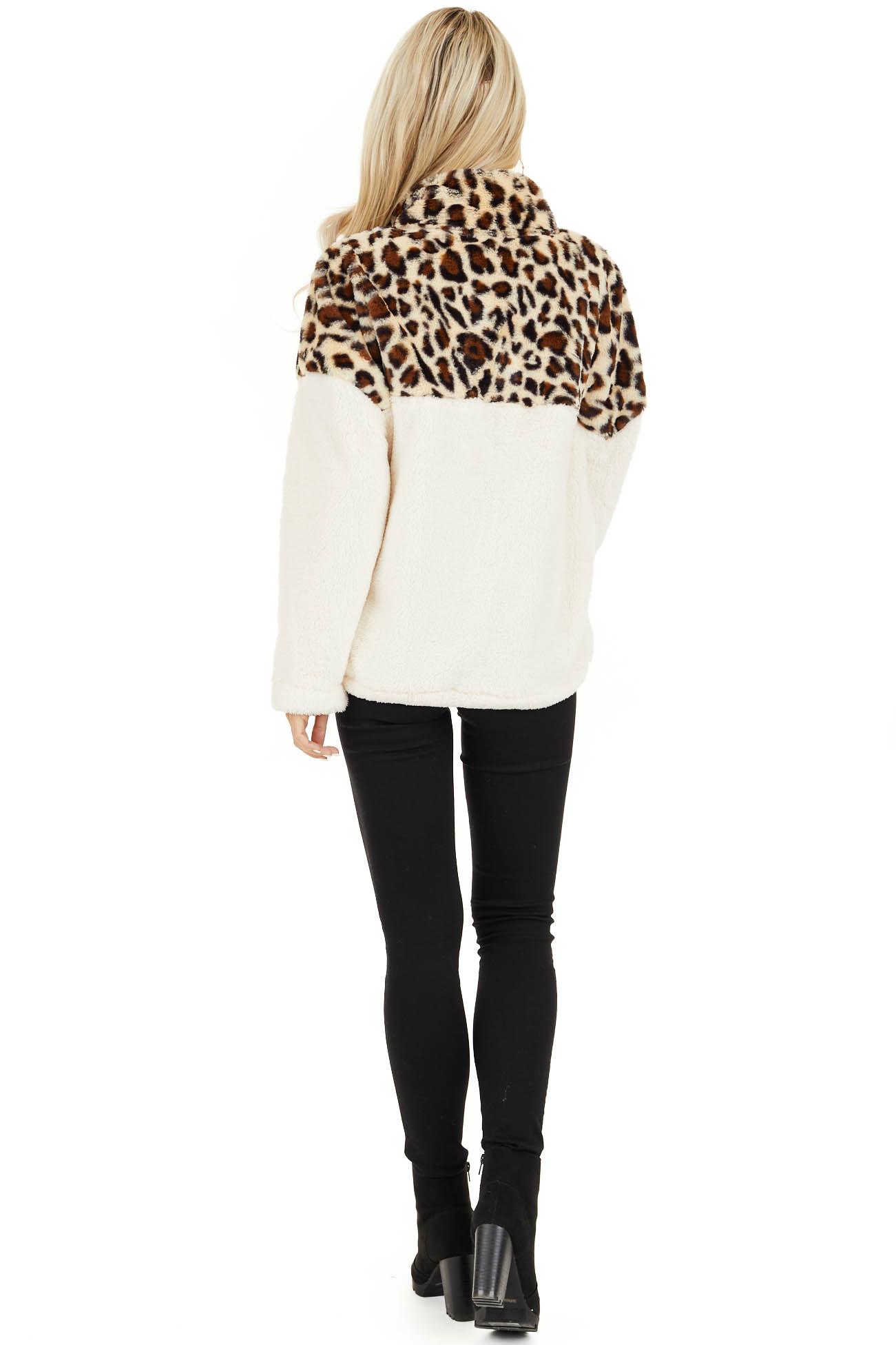 Cream Leopard Print Faux Fur Pullover Jacket back full body