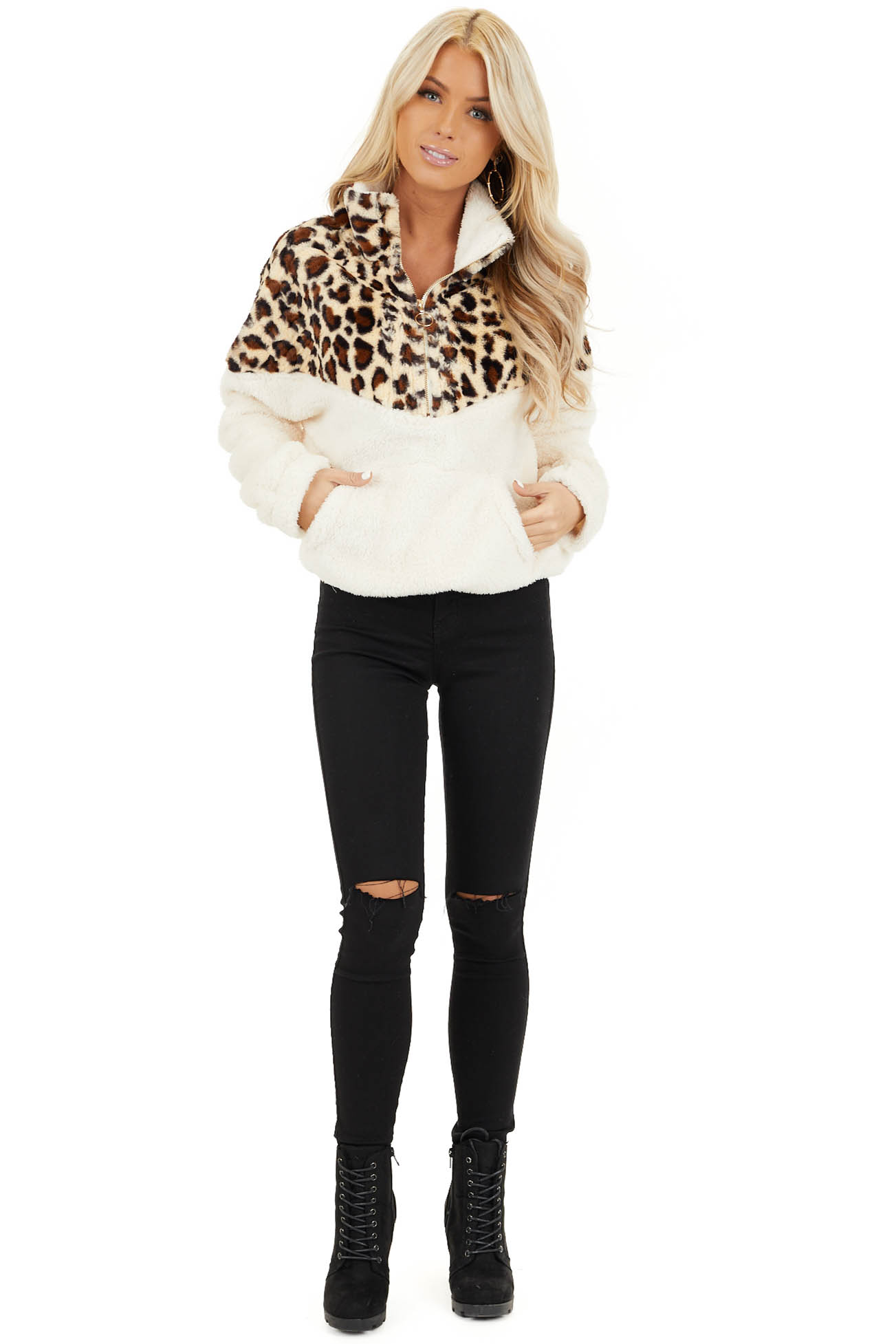 Cream Leopard Print Faux Fur Pullover Jacket front full body