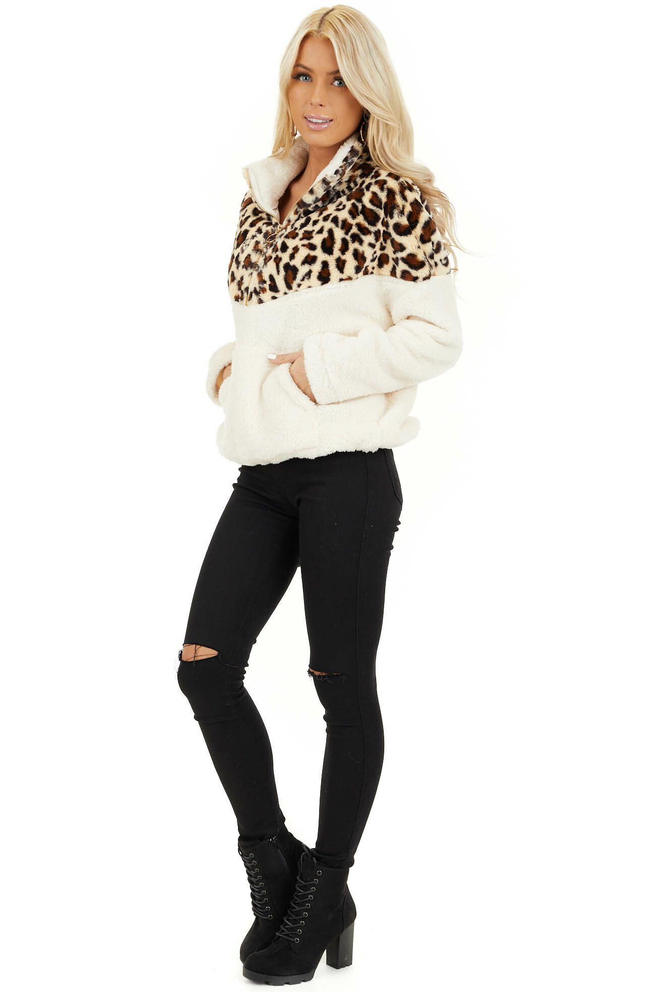 Cream Leopard Print Faux Fur Pullover Jacket side full body