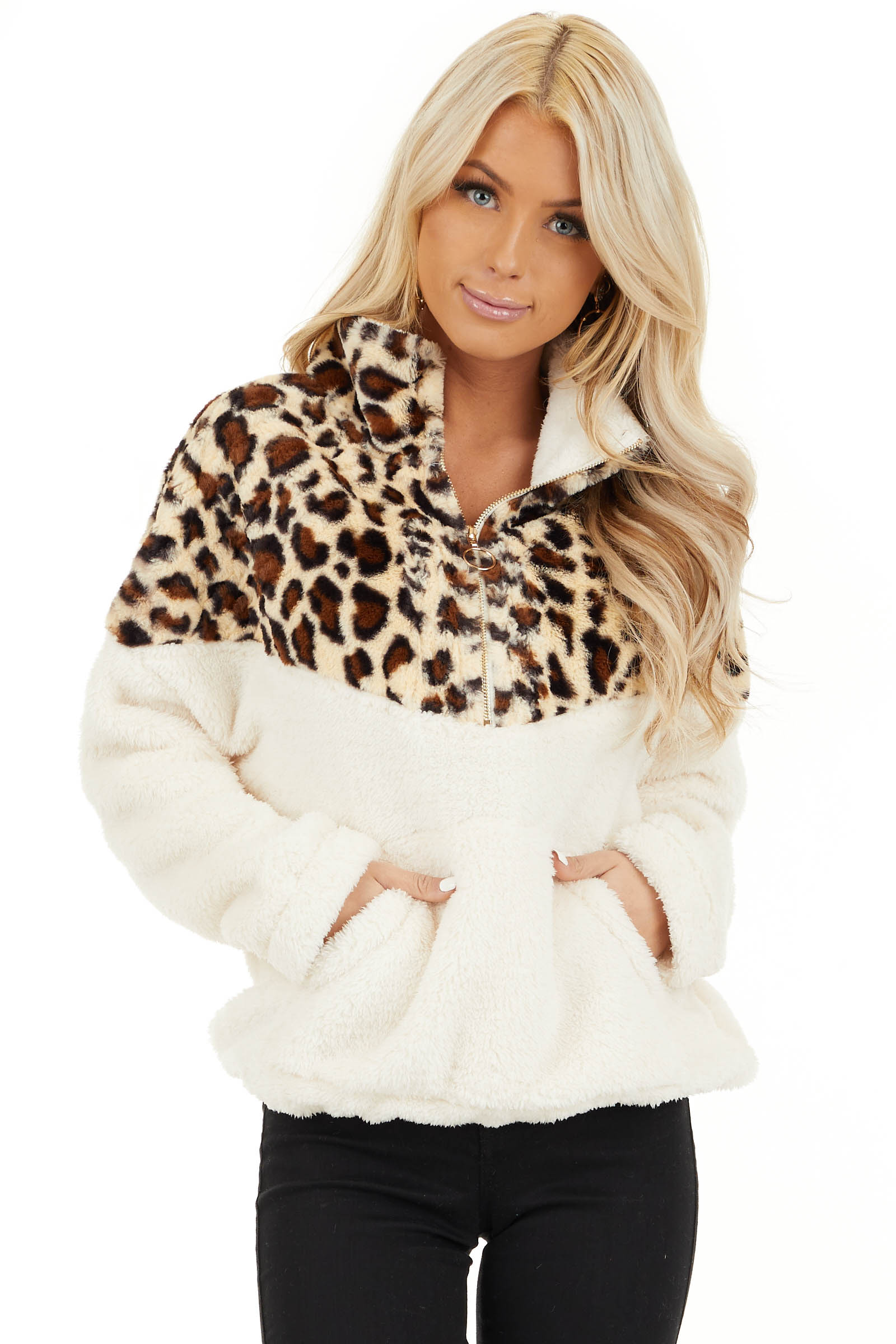 Cream Leopard Print Faux Fur Pullover Jacket front close up