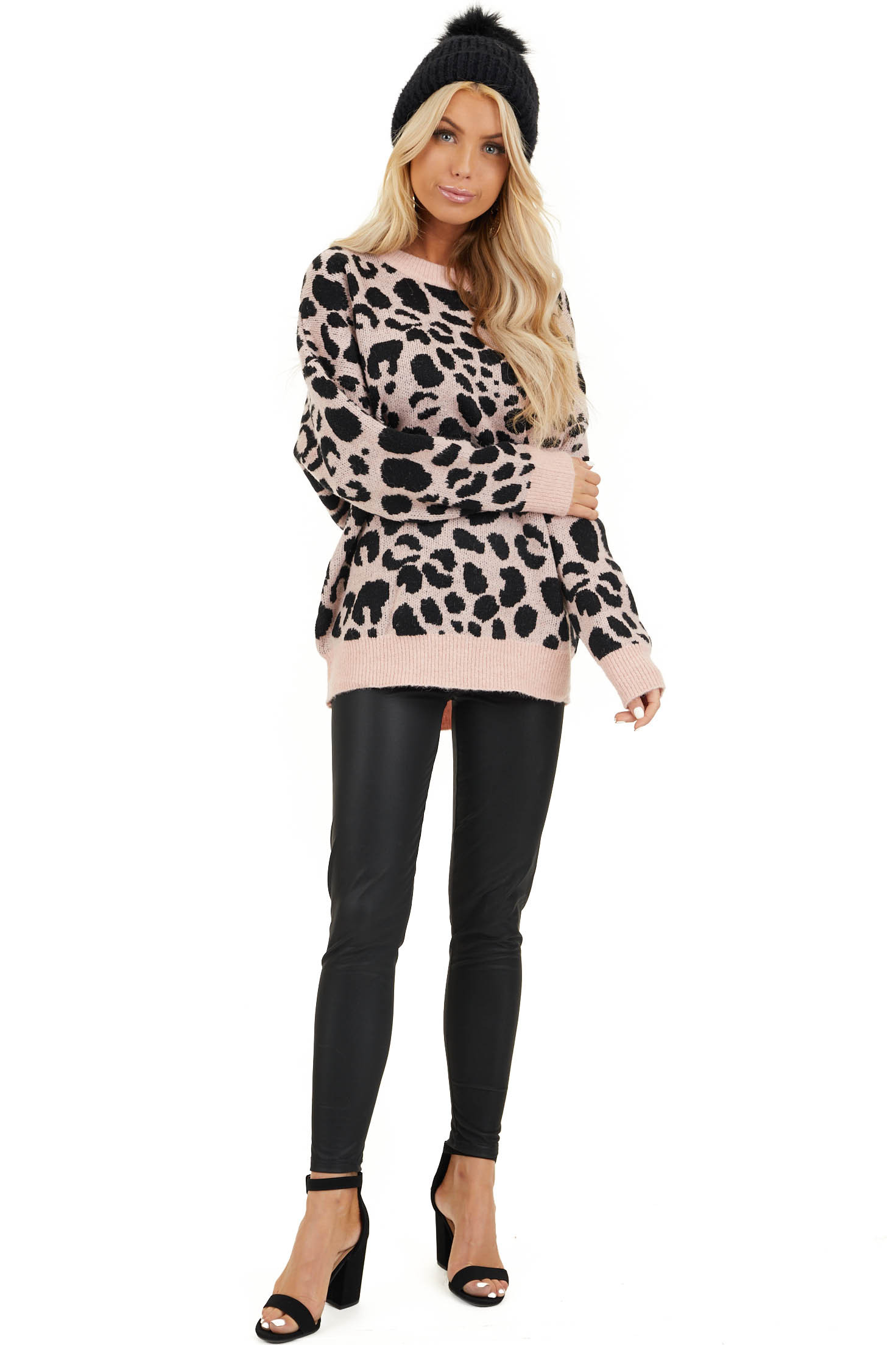 Blush Pink Leopard Print Pullover Long Sleeve Sweater front full body