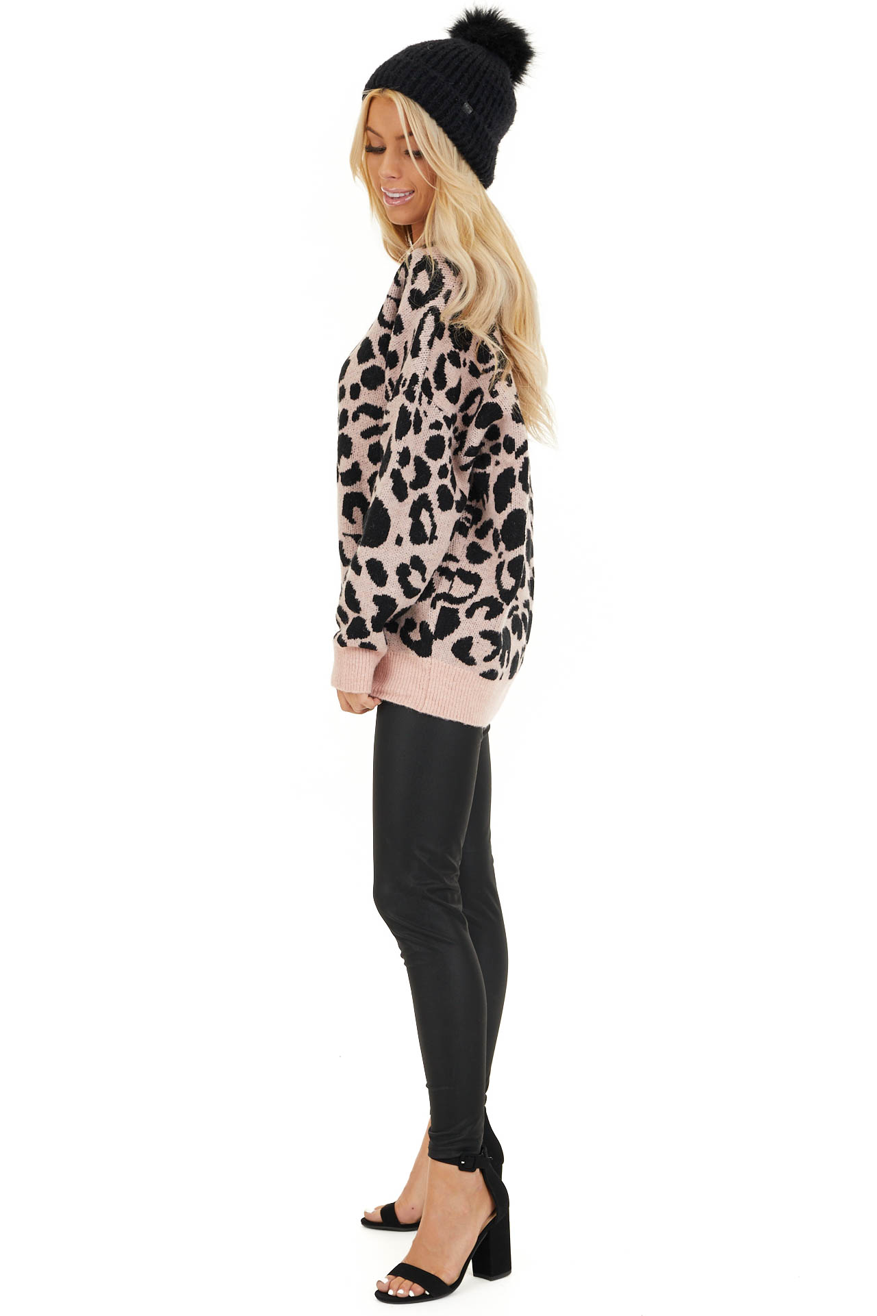 Blush Pink Leopard Print Pullover Long Sleeve Sweater side full body
