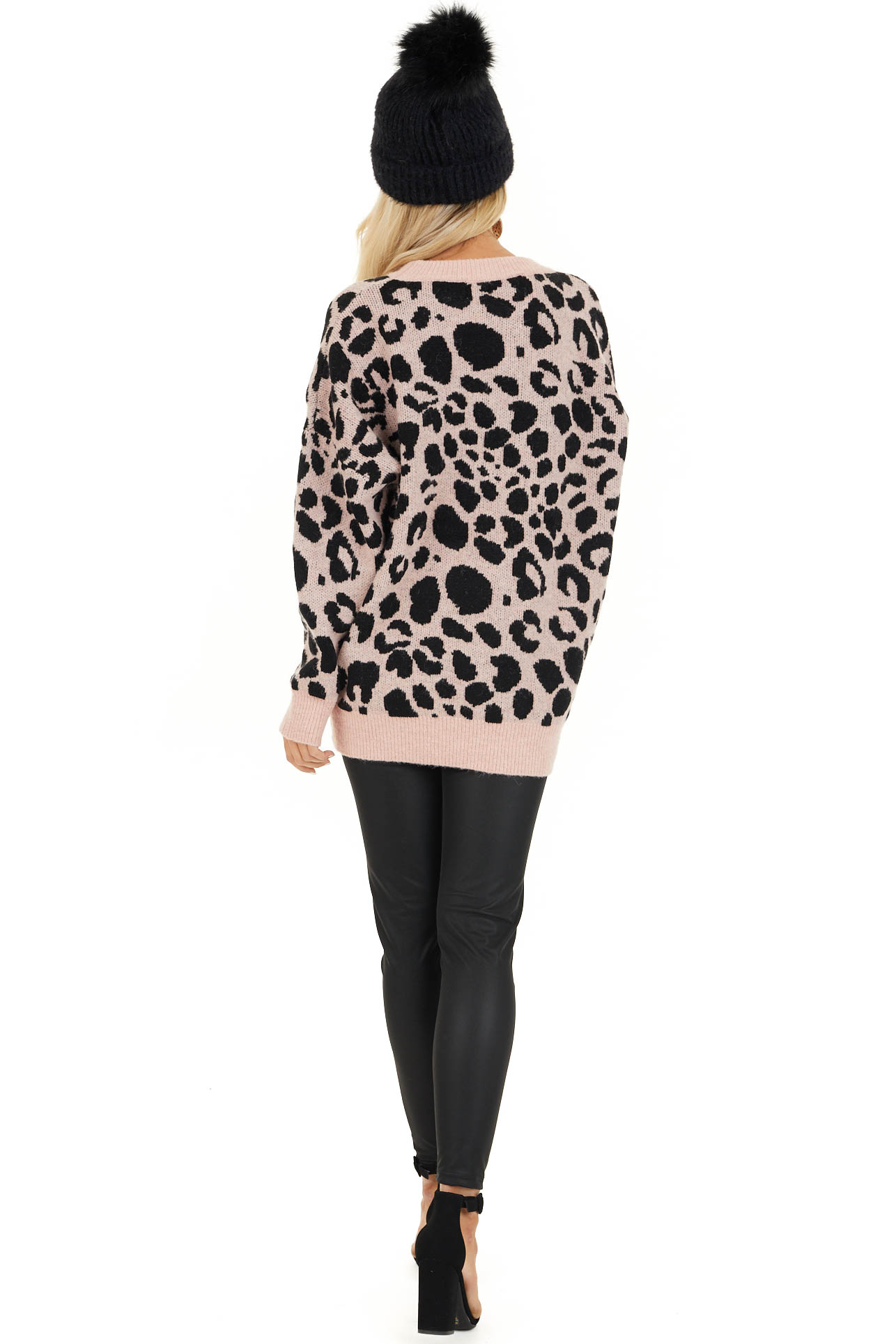 Blush Pink Leopard Print Pullover Long Sleeve Sweater back full body