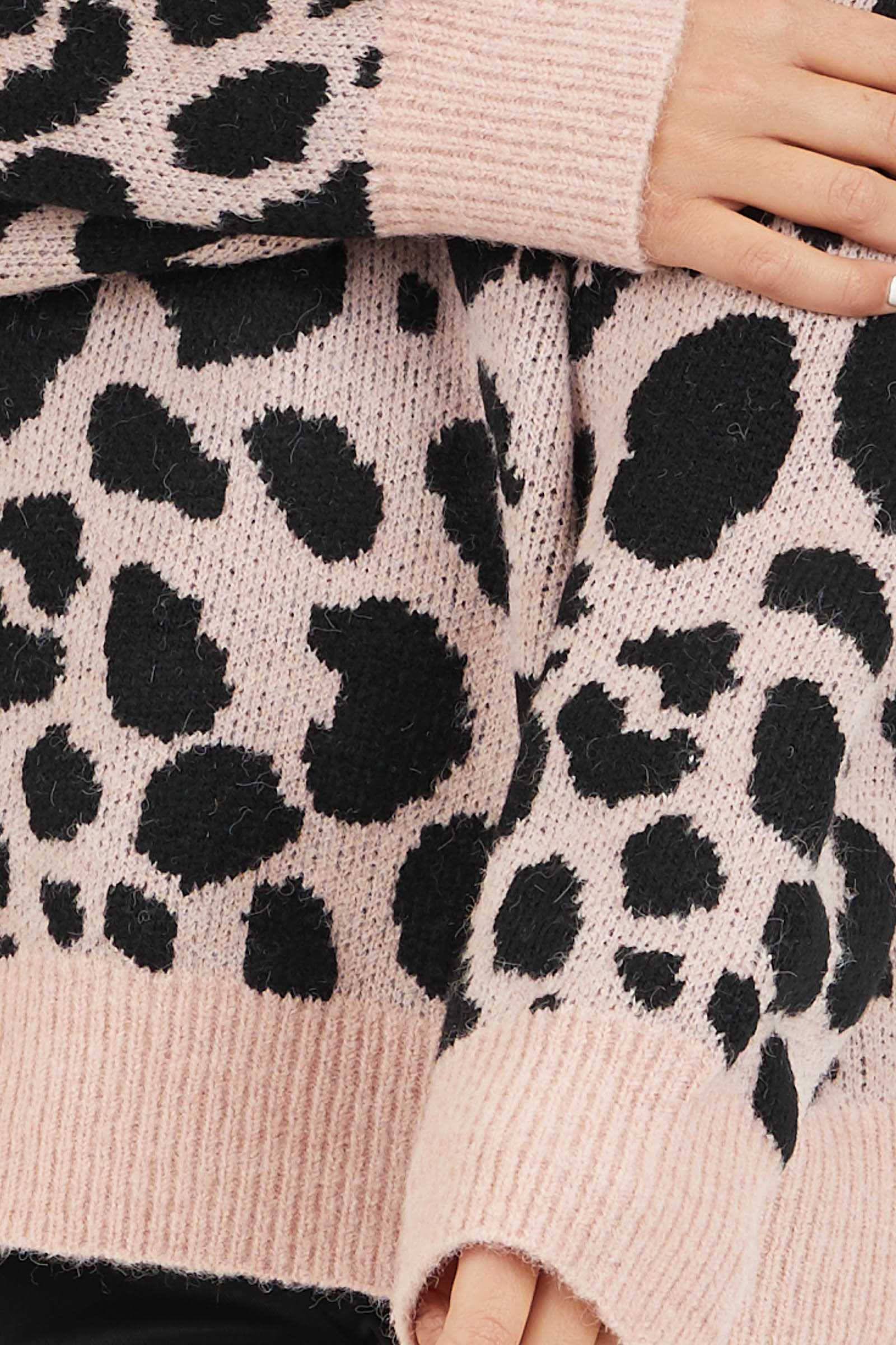 Blush Pink Leopard Print Pullover Long Sleeve Sweater detail