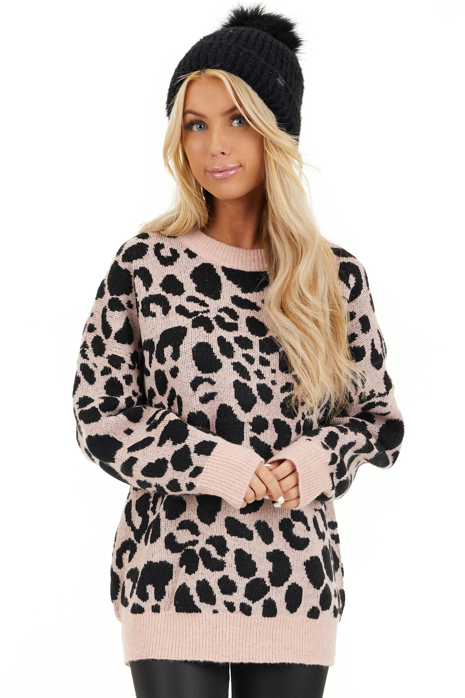 Blush Pink Leopard Print Pullover Long Sleeve Sweater front close up