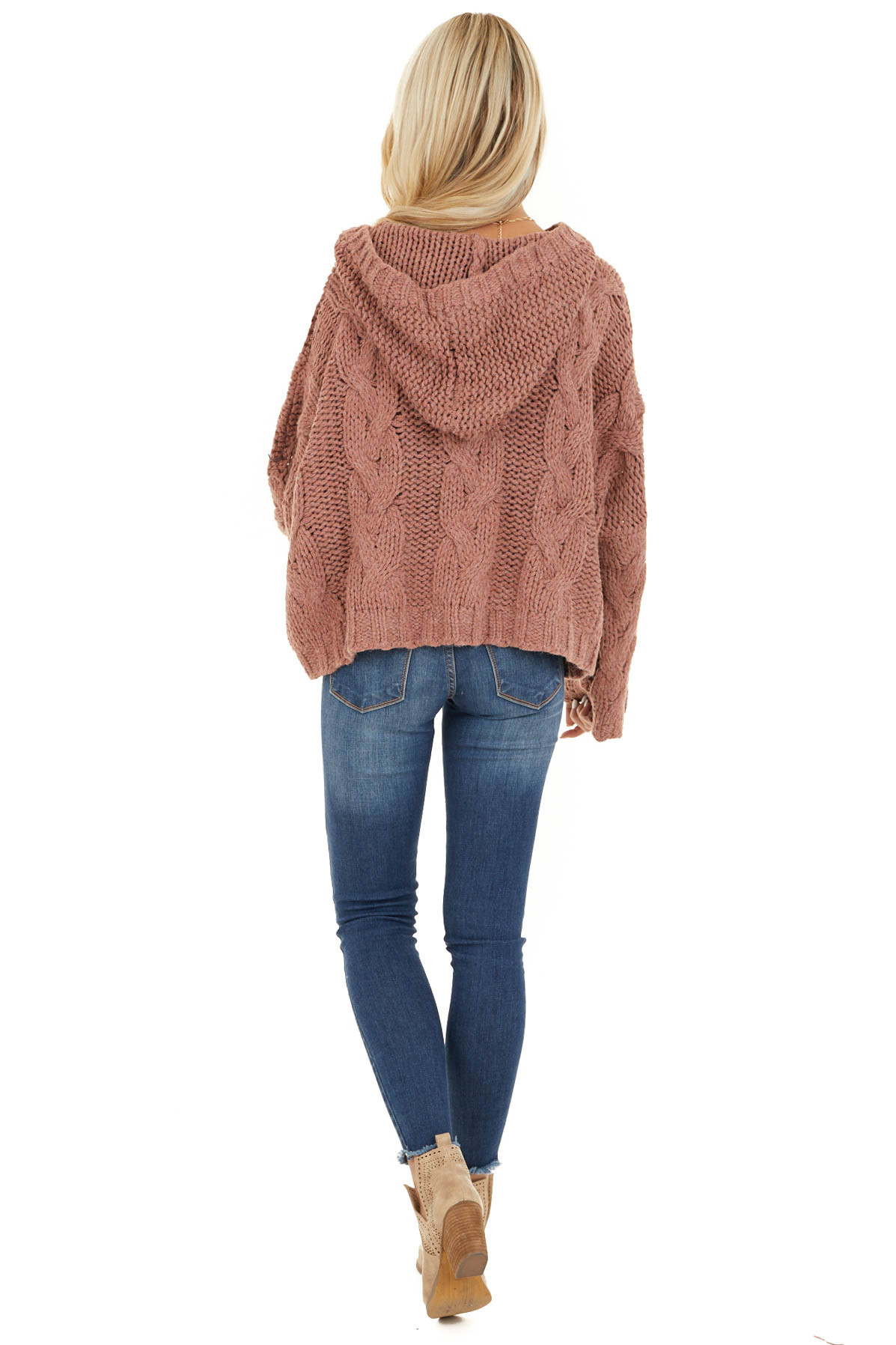 Dusty Pink Oversized Chunky Cable Knit Long Sleeve Hoodie back full body