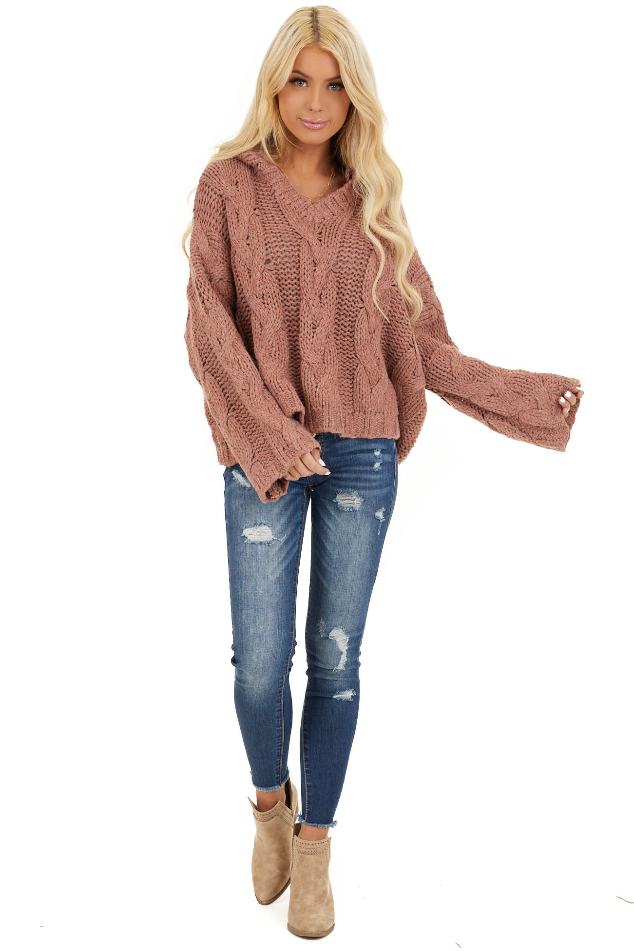 Dusty Pink Oversized Chunky Cable Knit Long Sleeve Hoodie front full body